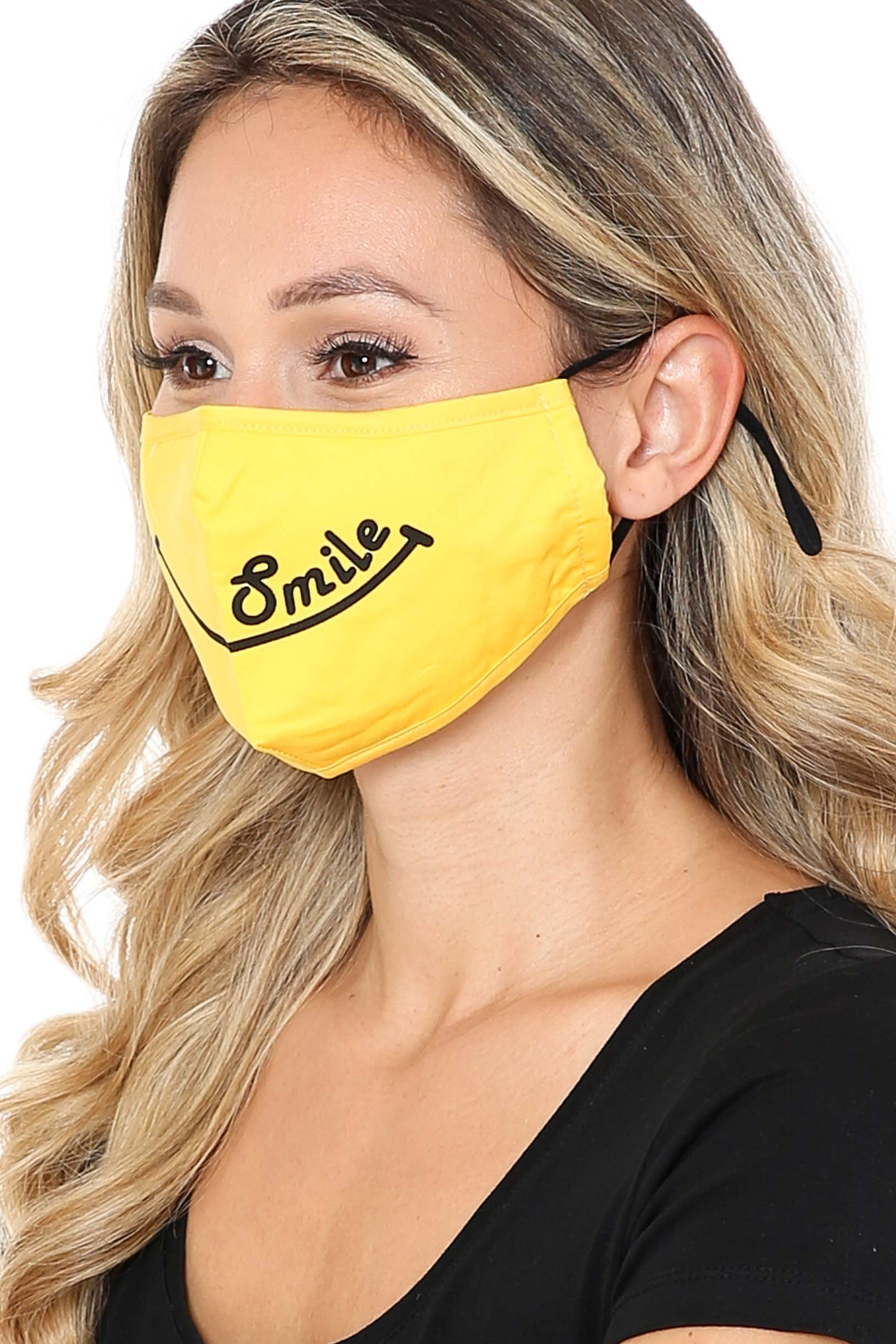 Side View of Bright Yellow Smile Face Mask with Built In Filter and Nose Bar