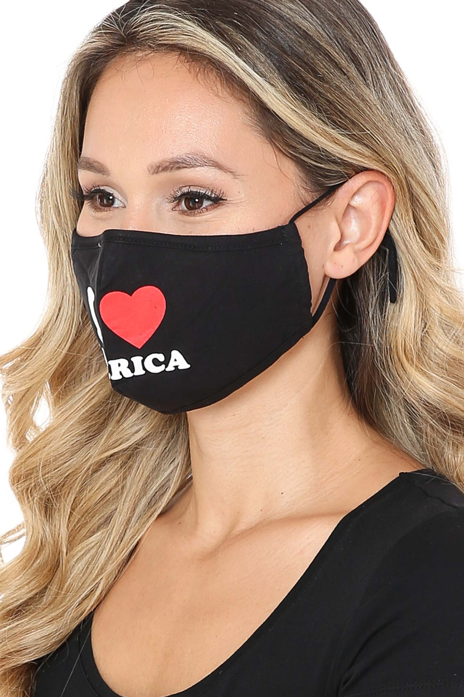 Side View of I Love America Face Mask with Built In Filter and Nose Bar