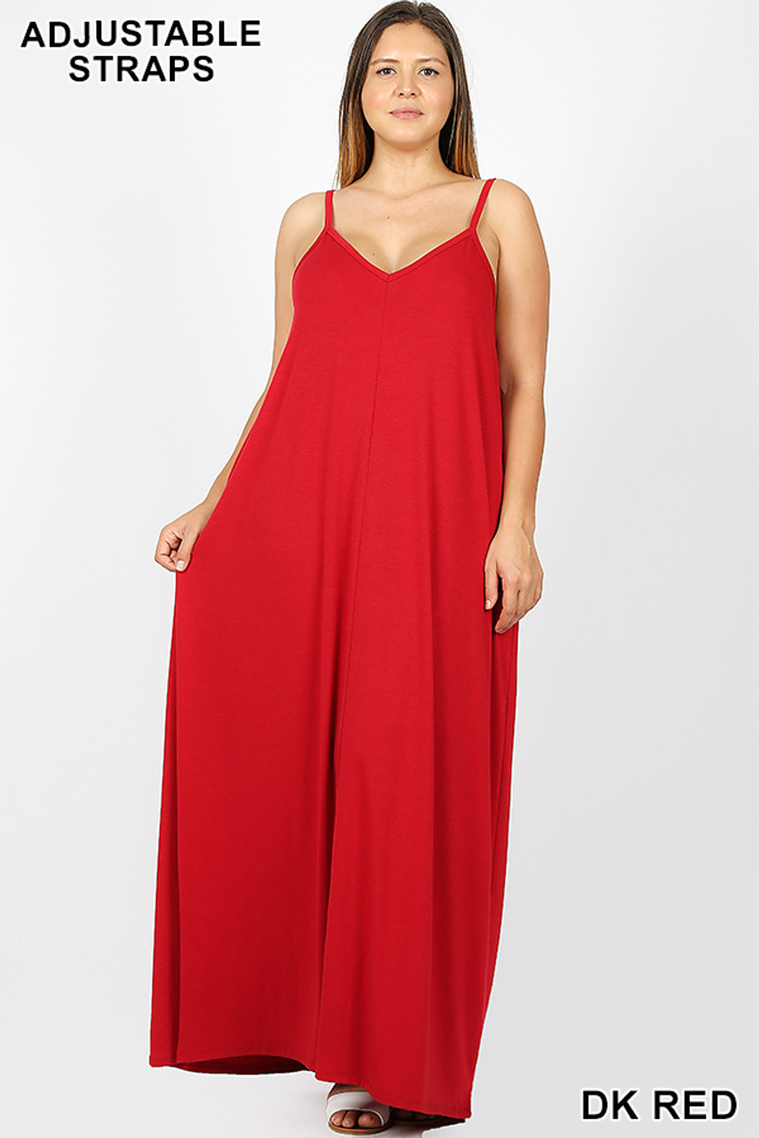 Adjustable V-Neck Rayon Plus Size Maxi Dress with Pockets - 51 Inch Length