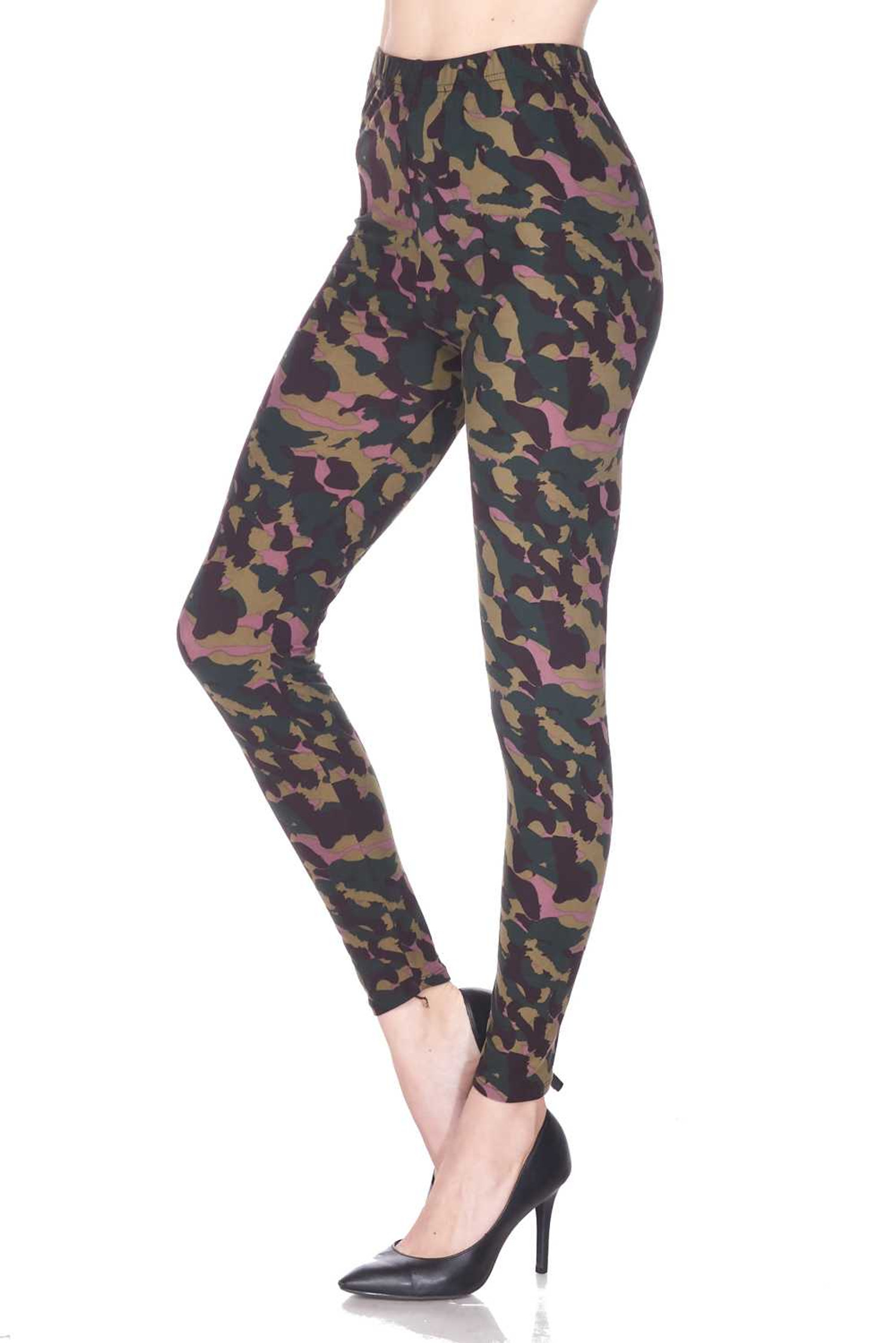 Buttery Soft Midnight Pink Camouflage Leggings