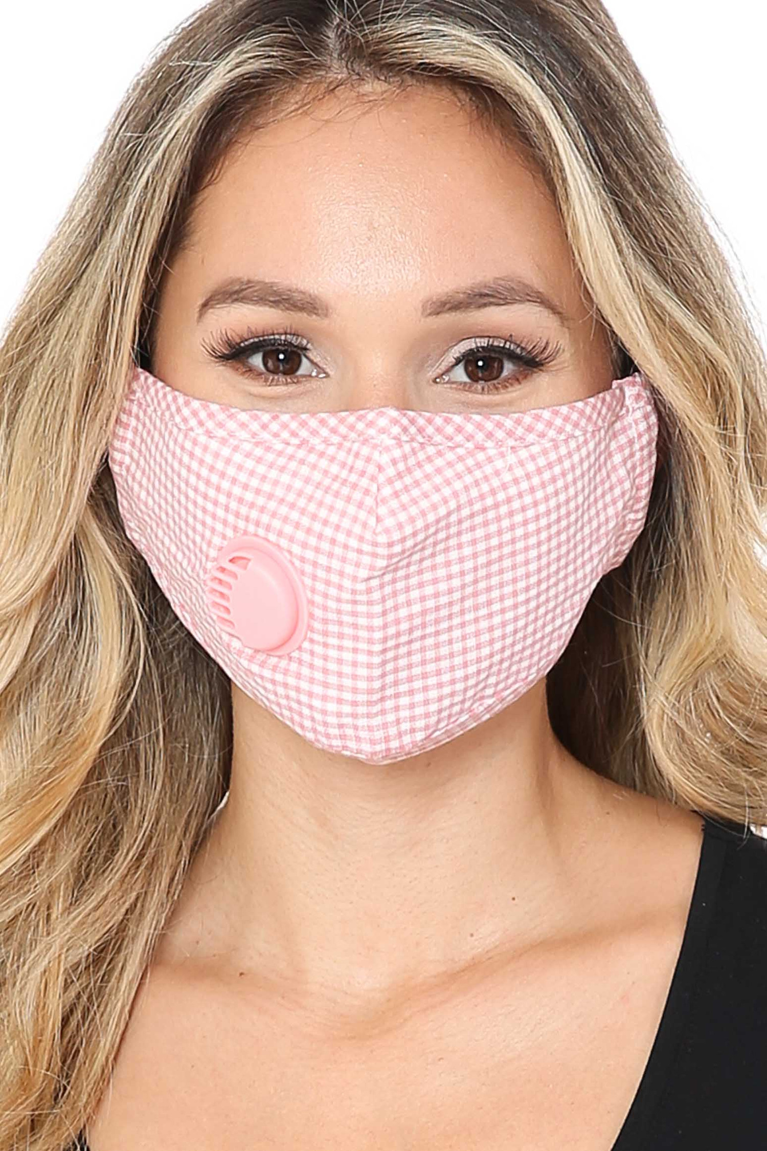 Pink checkered Plaid Face Mask with Air Valve