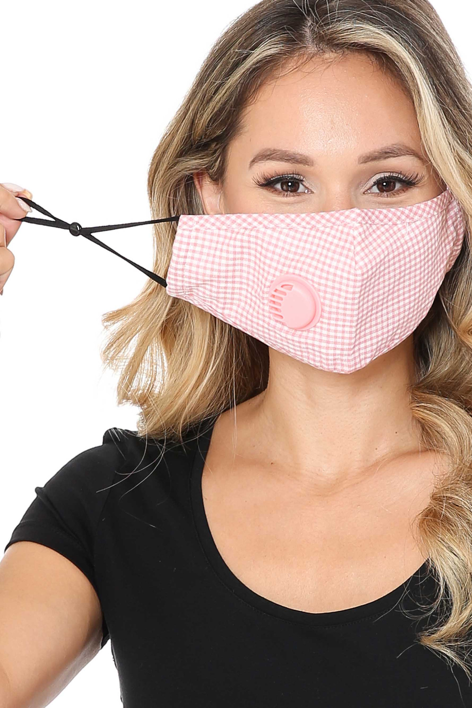 checkered Plaid Face Mask with Air Valve