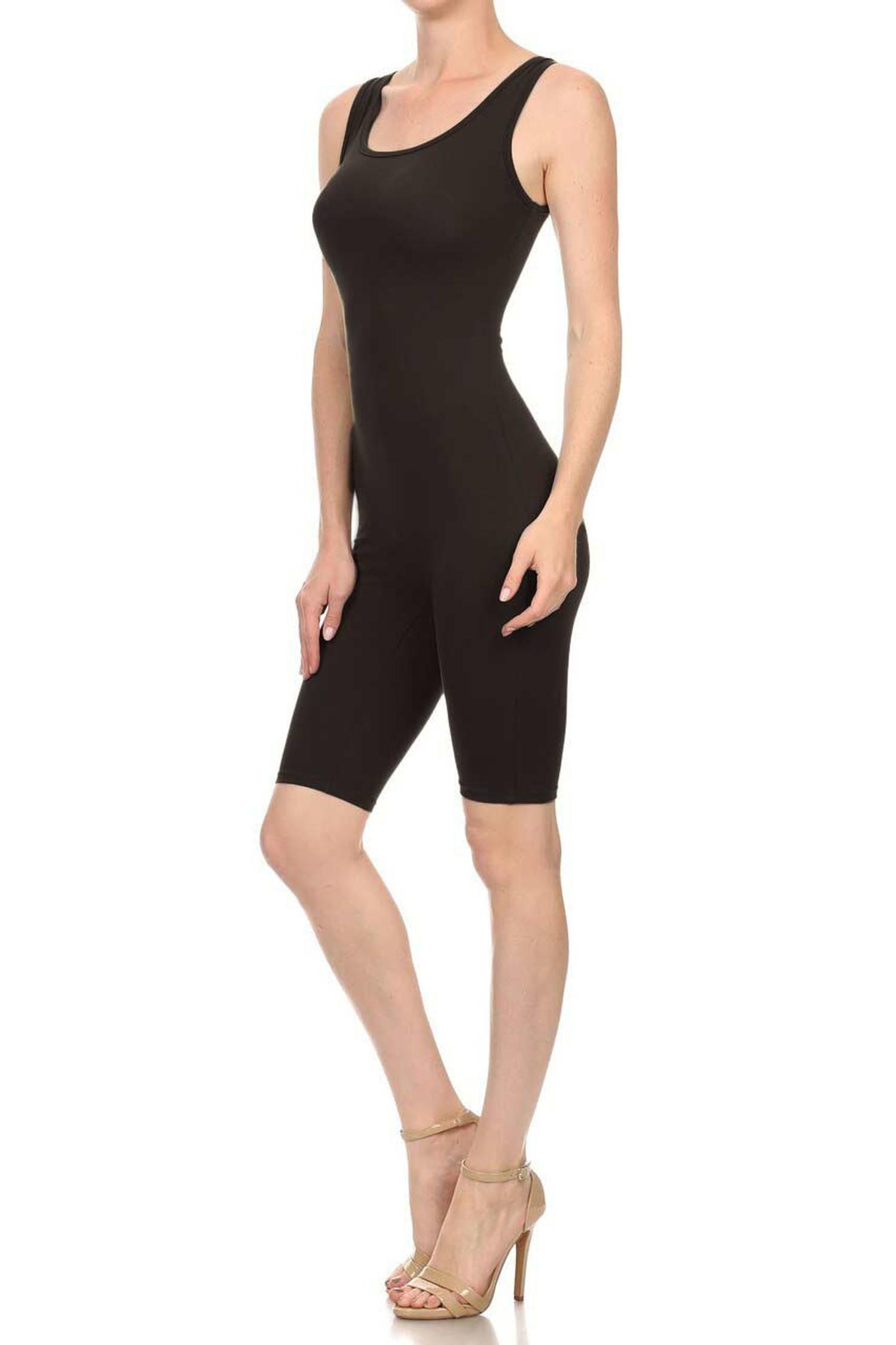 Black USA Basic Cotton Thigh High Jumpsuit