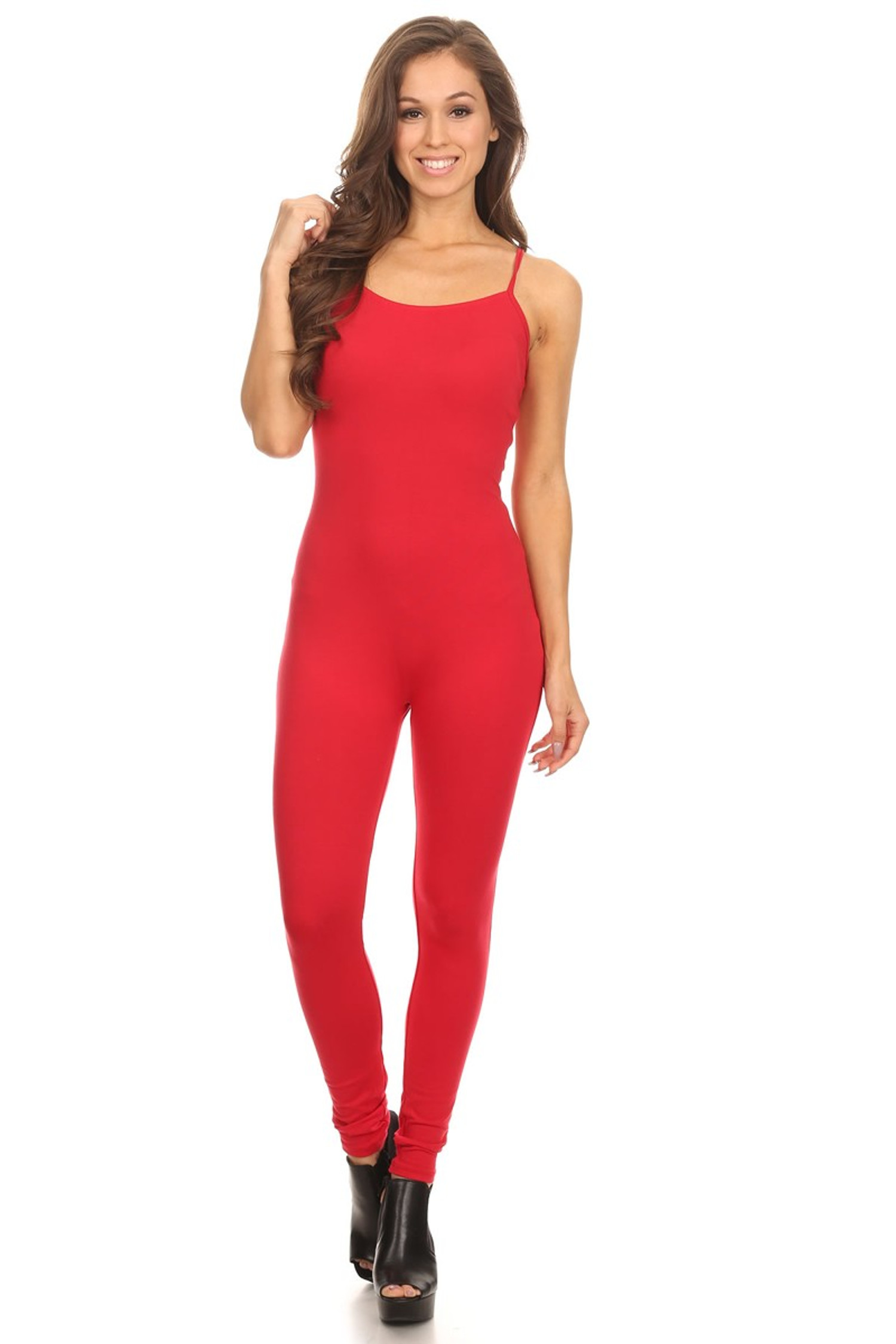 Front side image of USA Spaghetti Strap Cotton Tank Jumpsuit