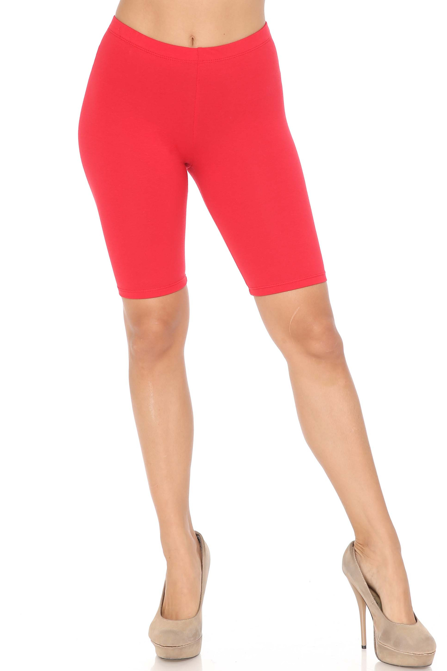 Front view of red USA Basic Cotton Thigh Shorts - Bermuda Shorts