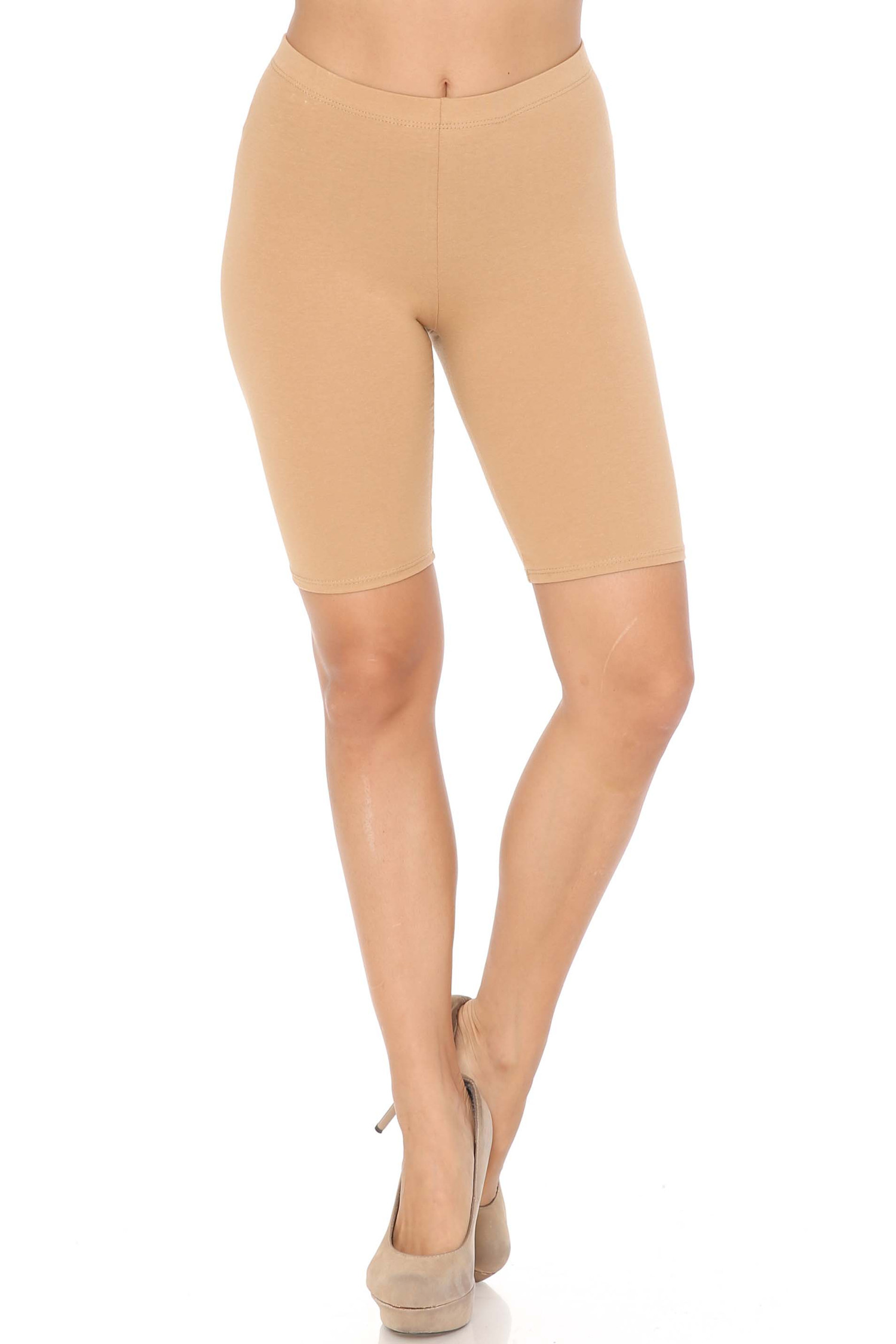 Front view of beige USA Basic Cotton Thigh Shorts - Bermuda Shorts