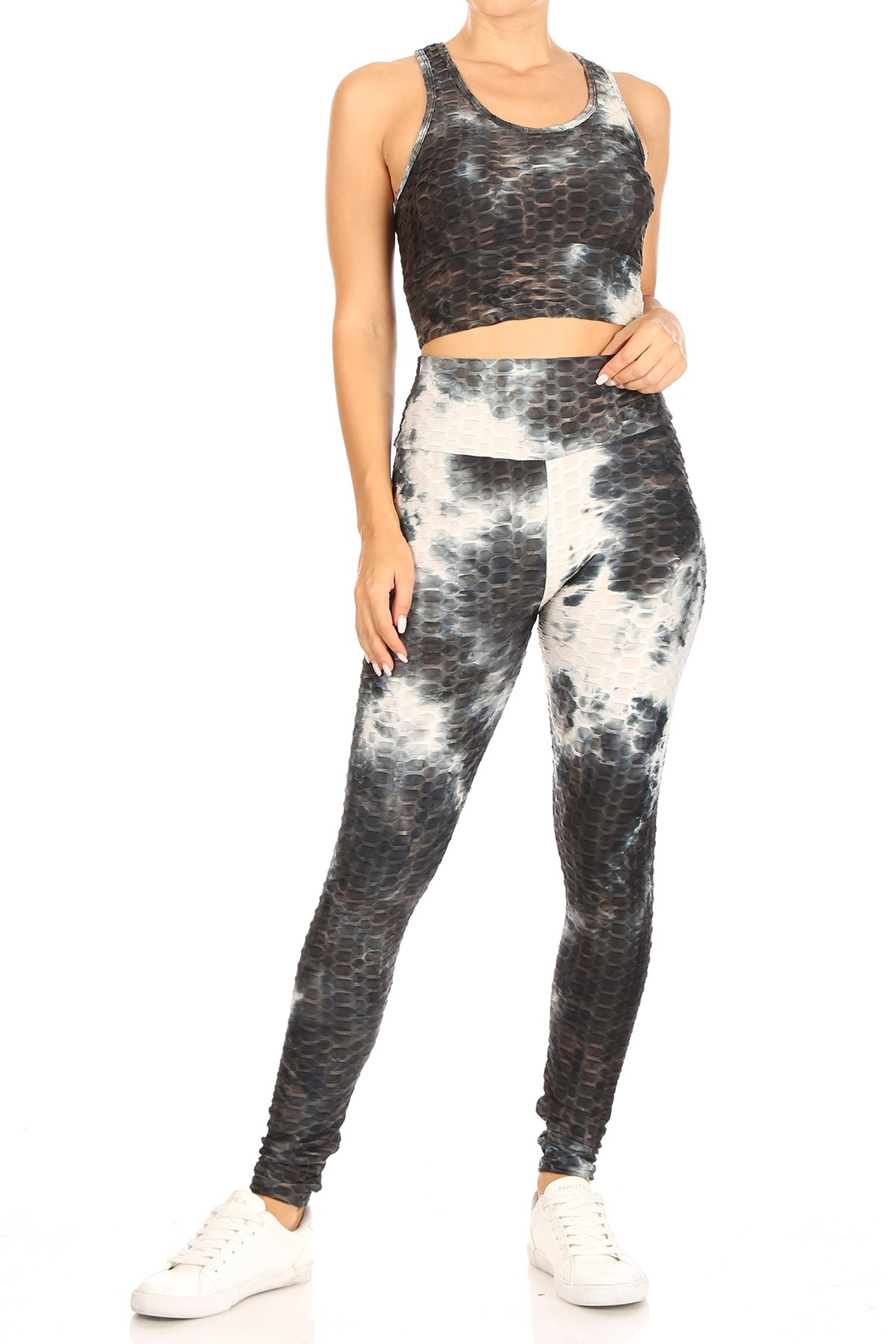 Black Tie Dye Scrunch Butt Top and Leggings Set