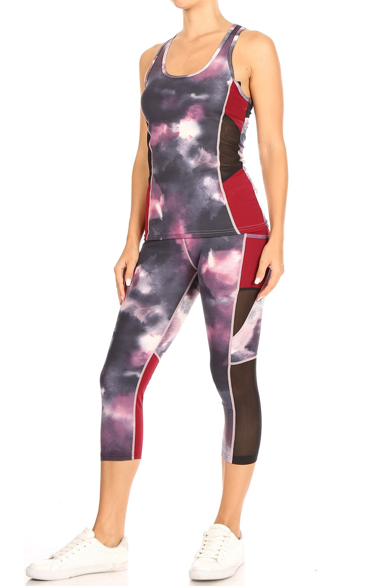 Red Tie Dye Sport Mesh Top and Capri Set