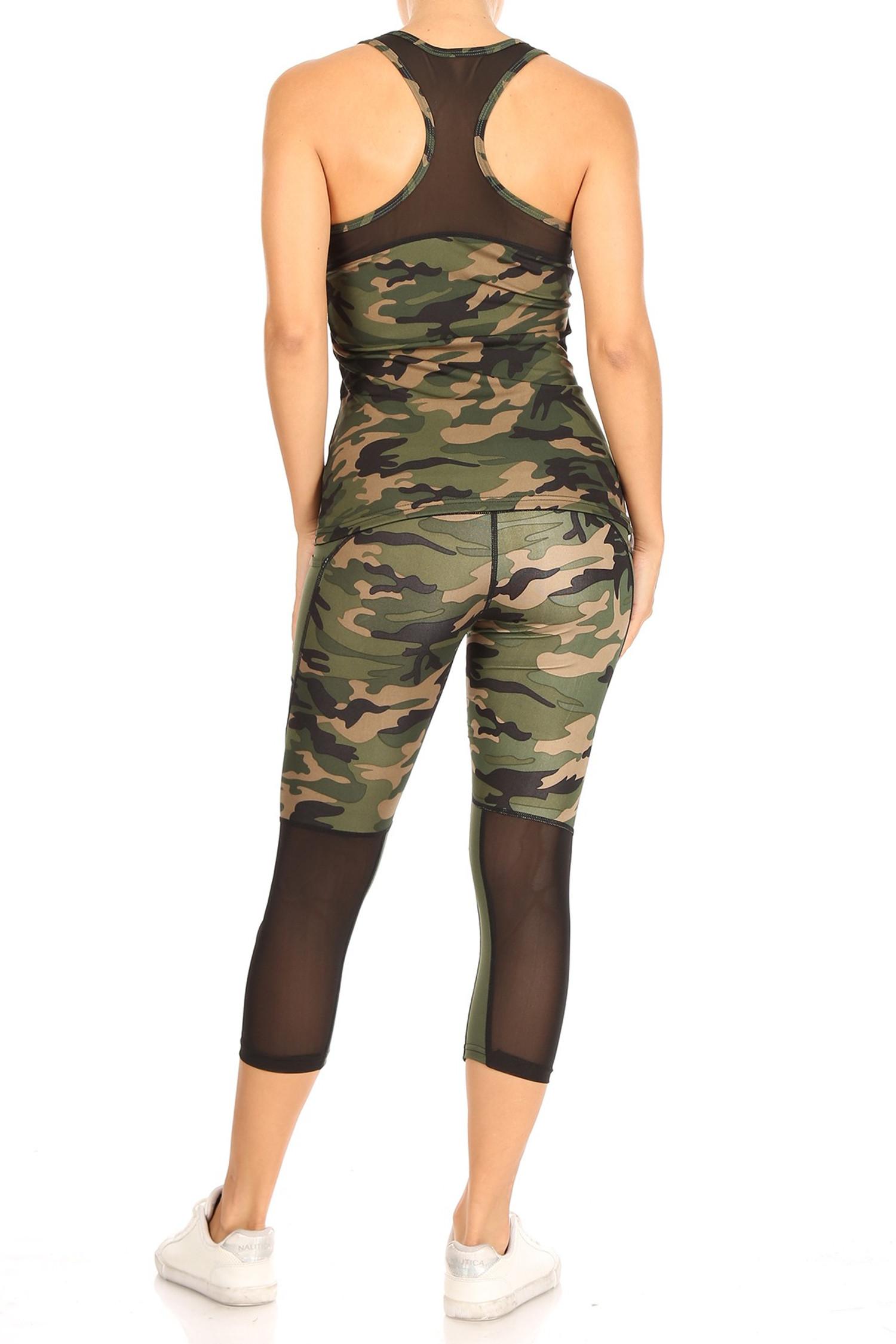 Camouflage Sport Mesh Top and Capri Set