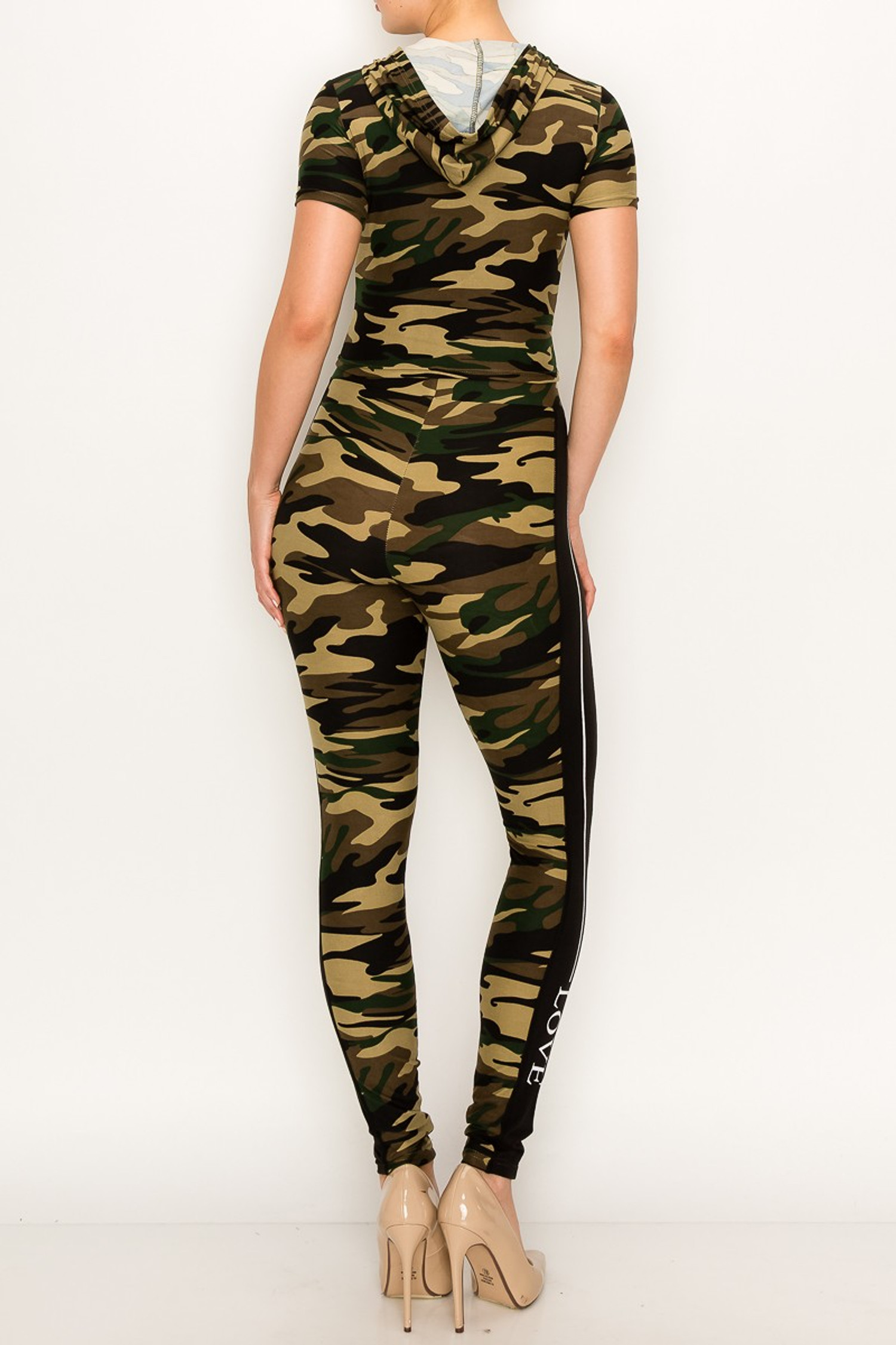 Camouflage Sport Love Hoodie Top and Legging Set