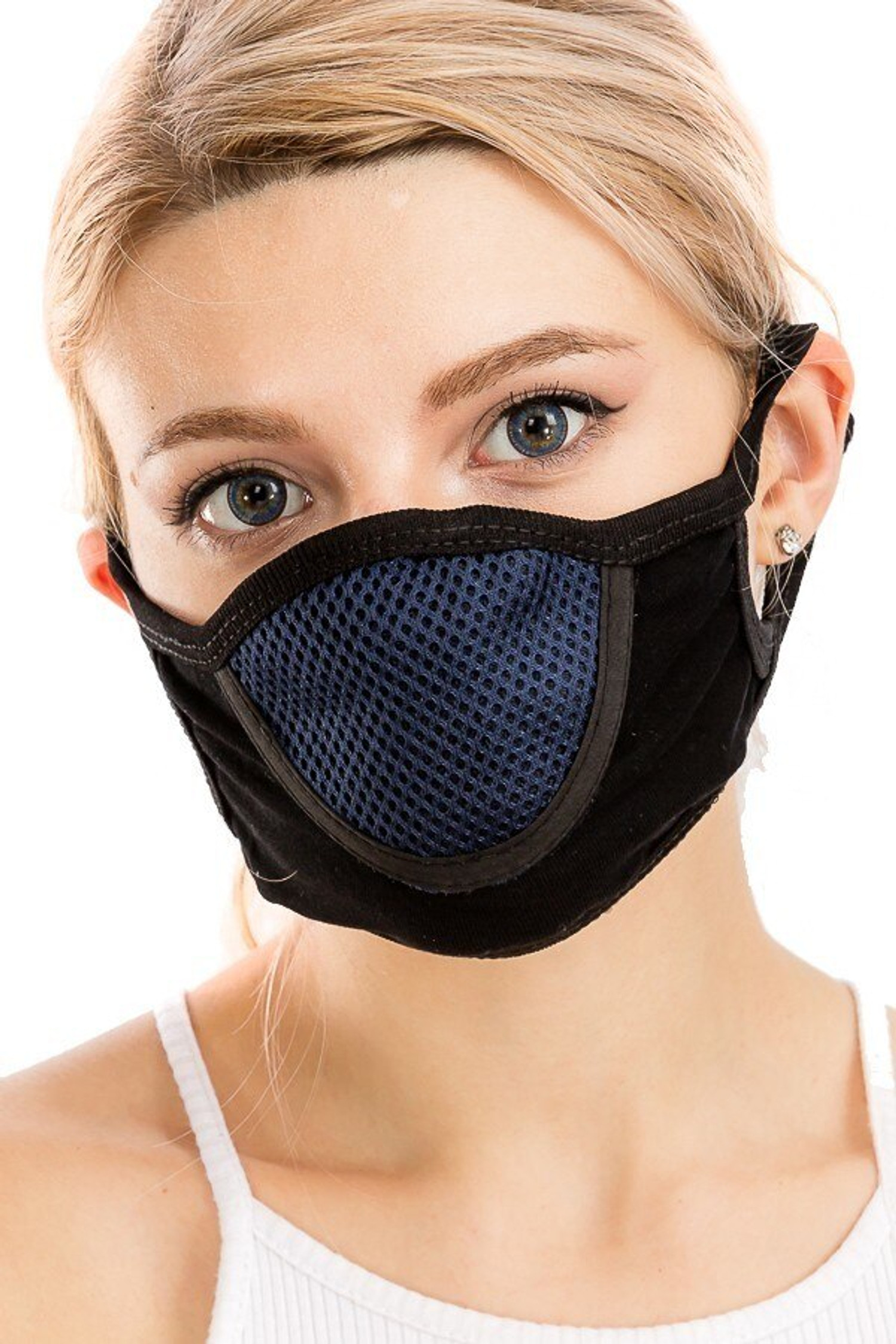 Navy Unisex Multi Layer Fabric Mesh Comfort Face Mask