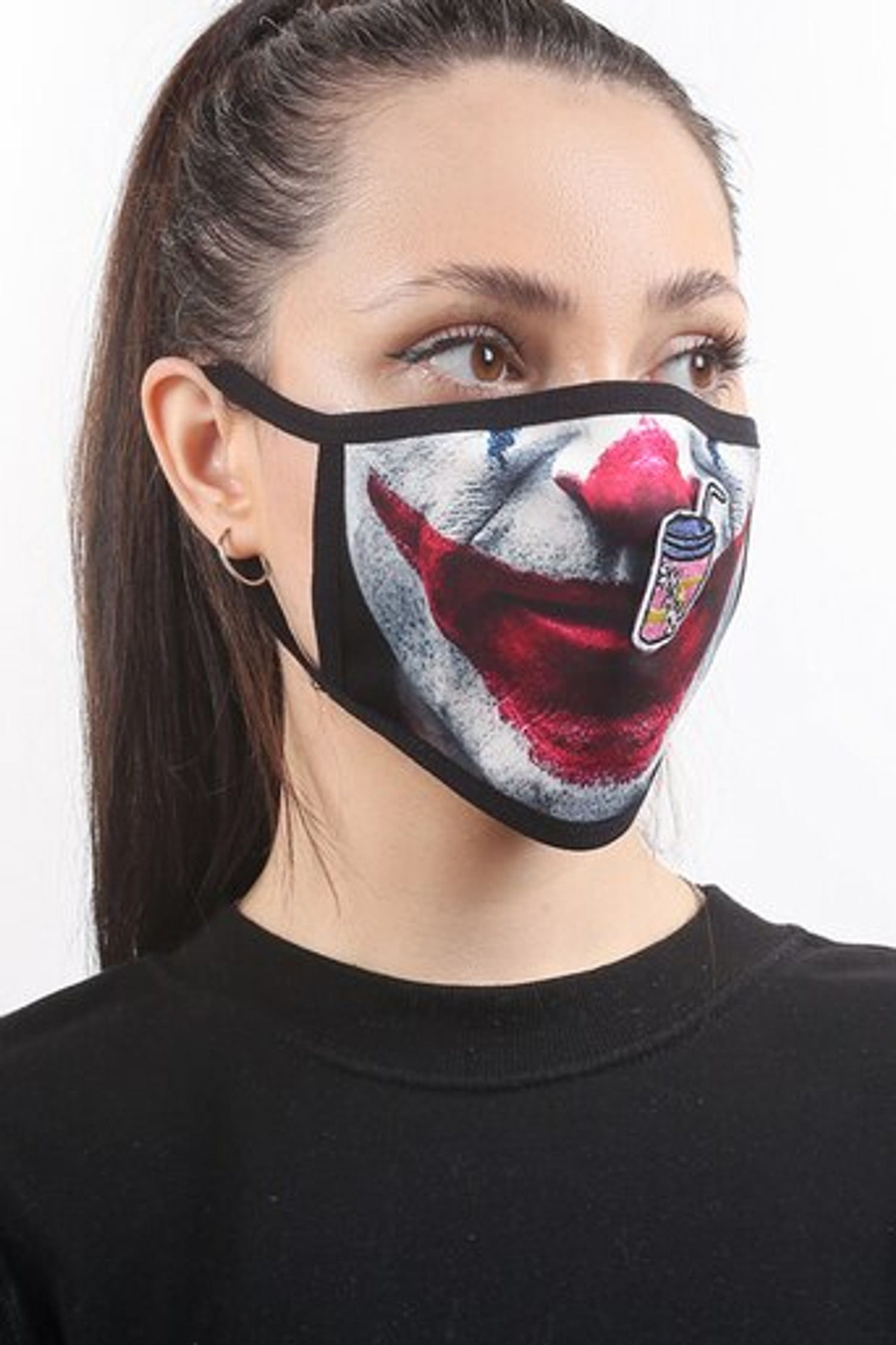 Joker Graphic Print Face Mask with Magnetic Straw Hole