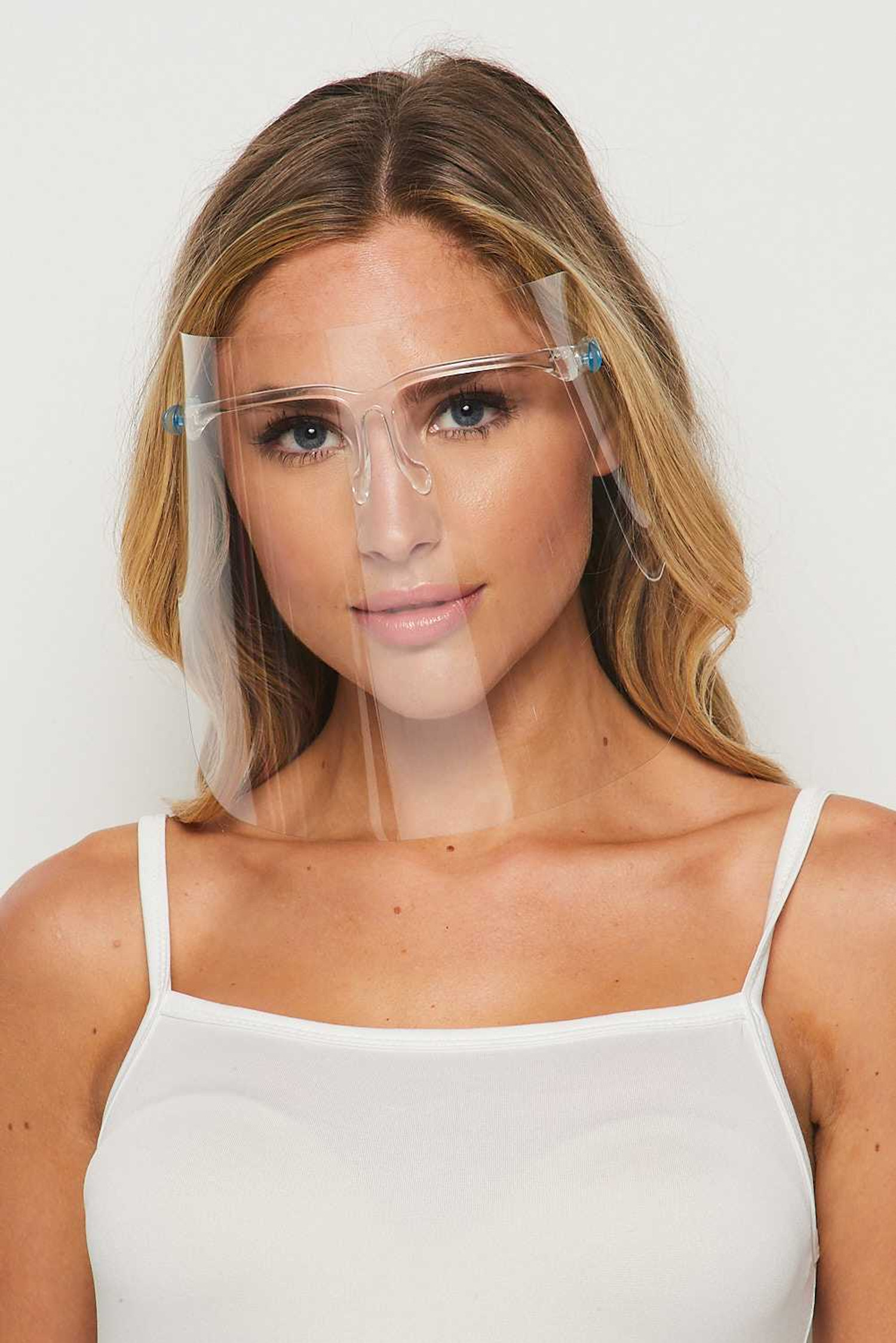 20 Pack - Detachable Full Transparent Face Shield - Clear Colored Support Glasses