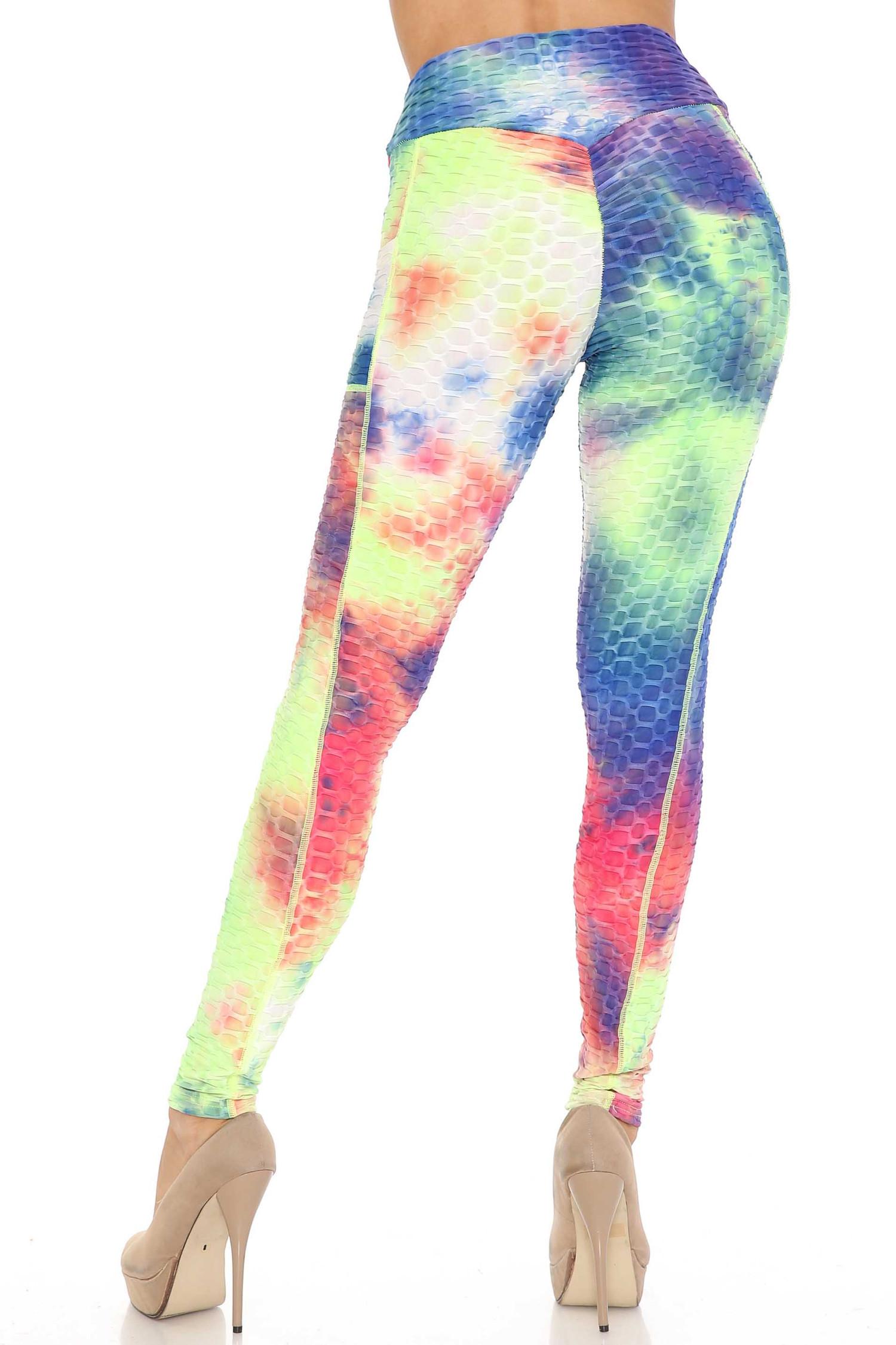 Premium Indigo Tie Dye Scrunch Butt Workout Leggings with Side Pockets