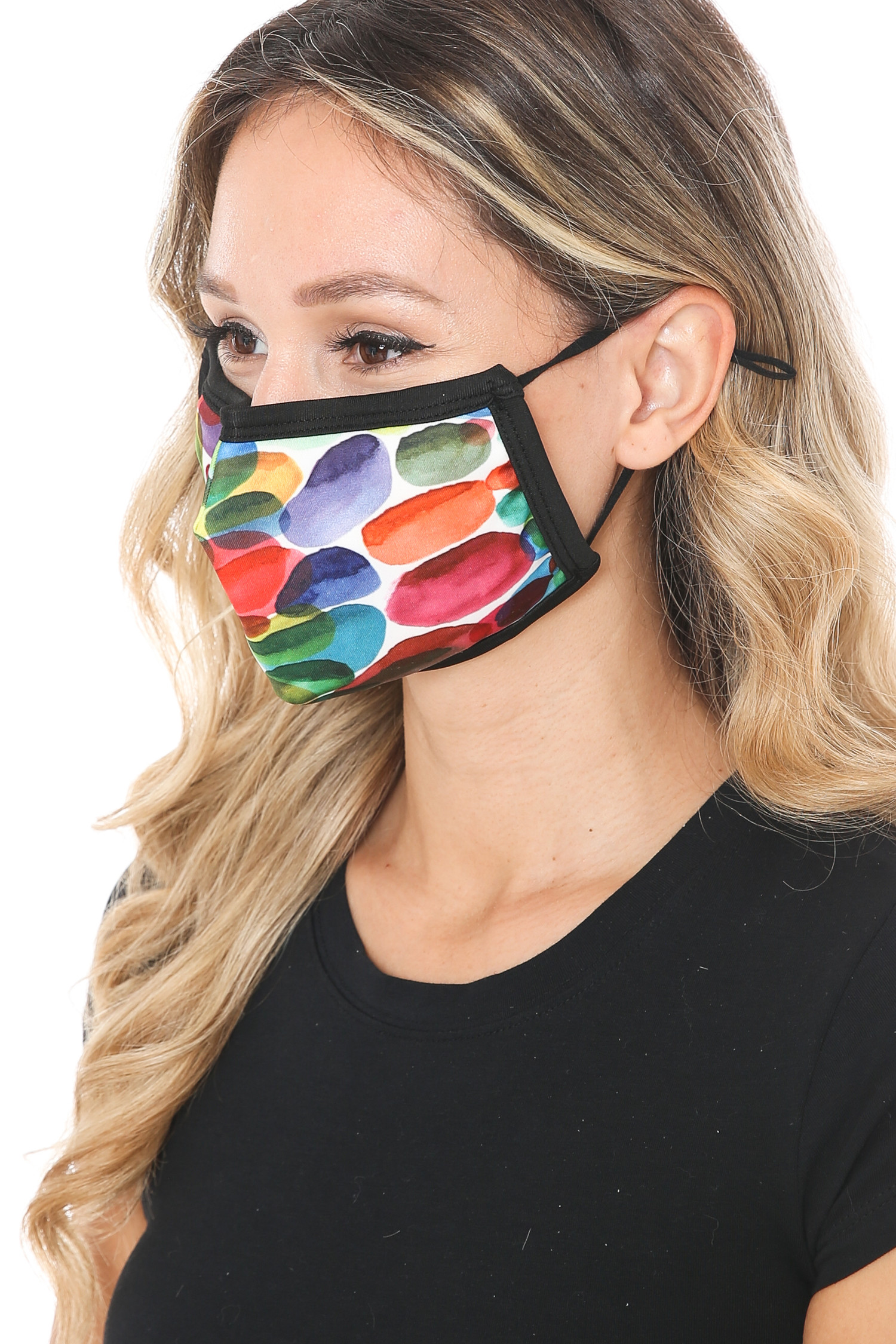 Rainbow Watercolor Graphic Print Face Mask