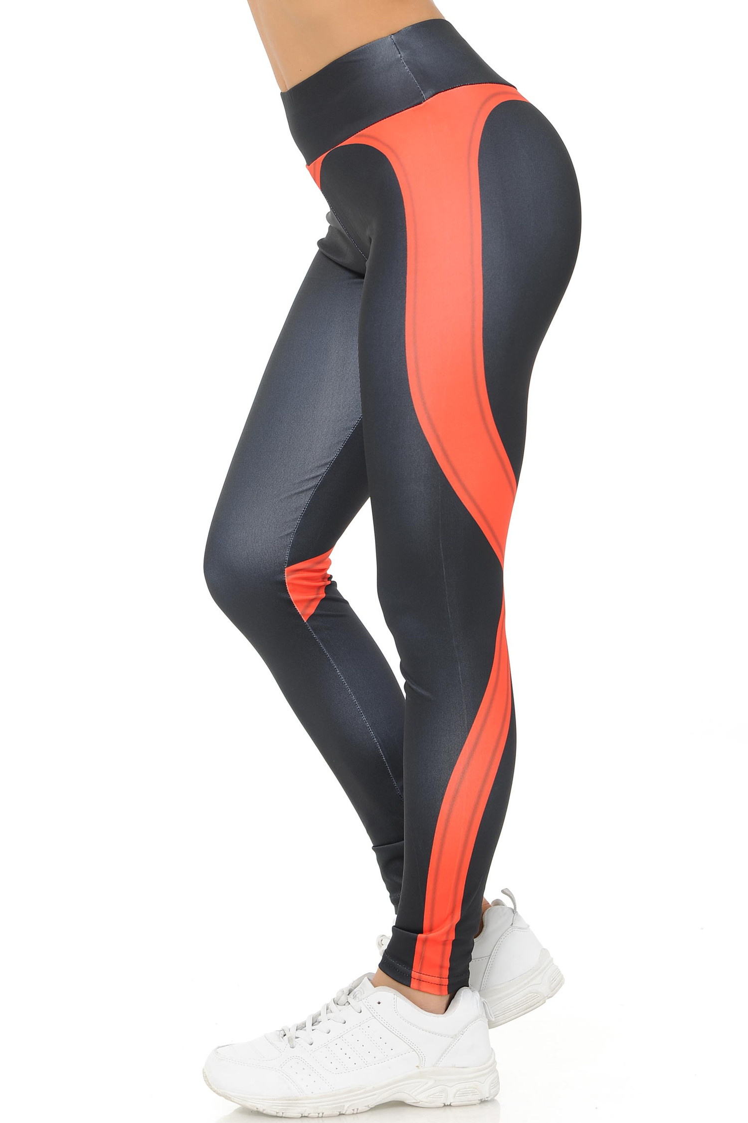 Side Coral Contouring Banded Heart Workout Leggings