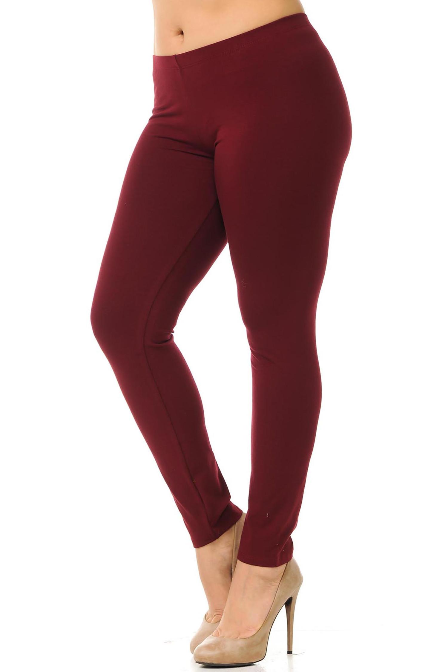 45 degree angled view of burgundy plus size qUSA Cotton Full Length Leggings