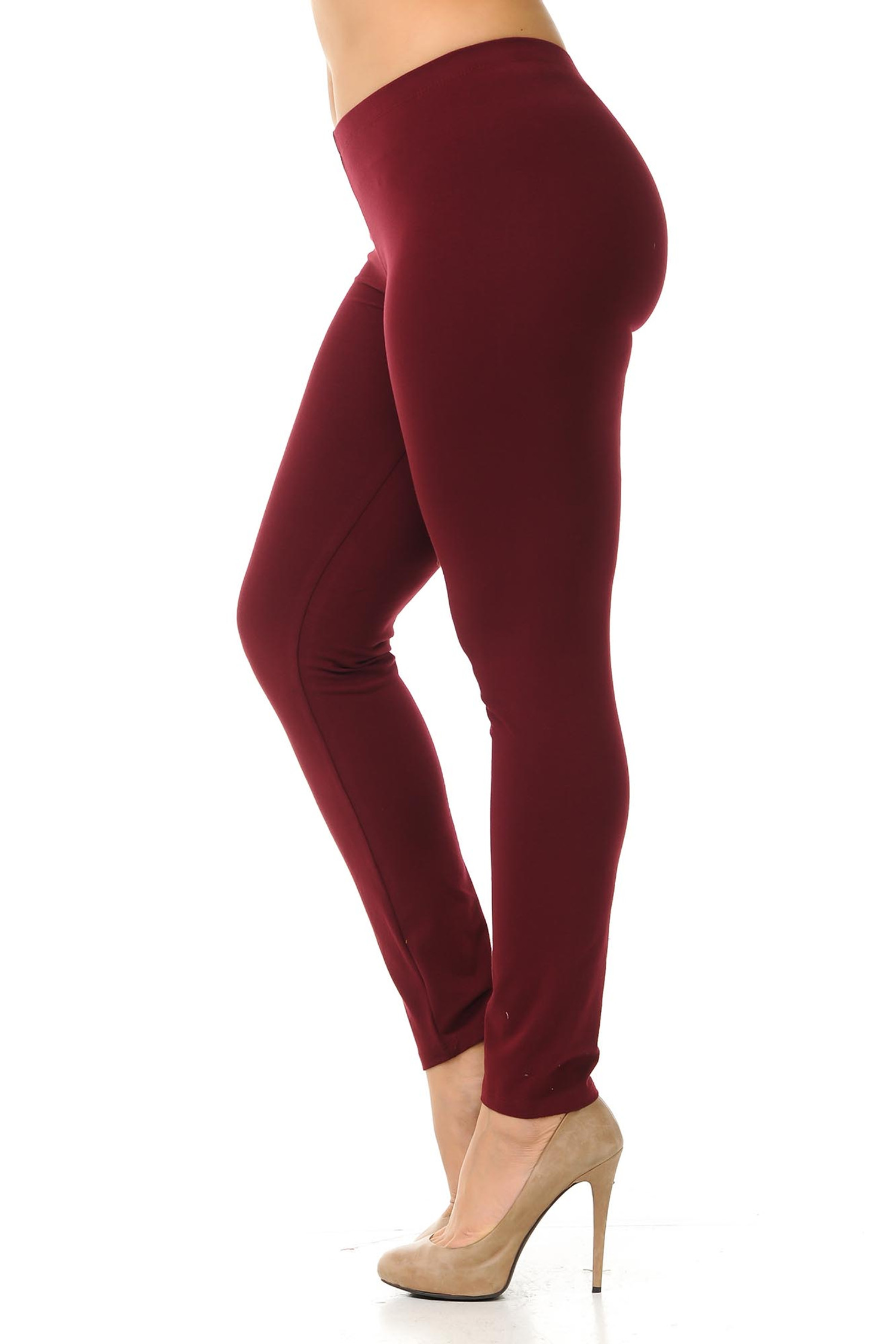 Left side view of  burgundy plus size USA Cotton Full Length Leggings.