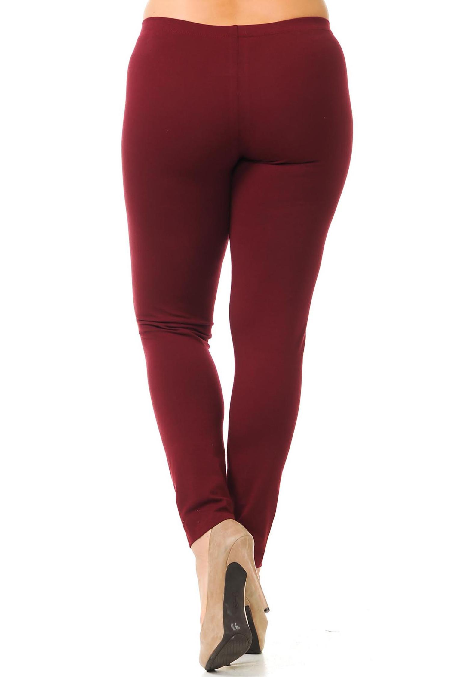 Back view of burgundy USA cotton full length plus size leggings.