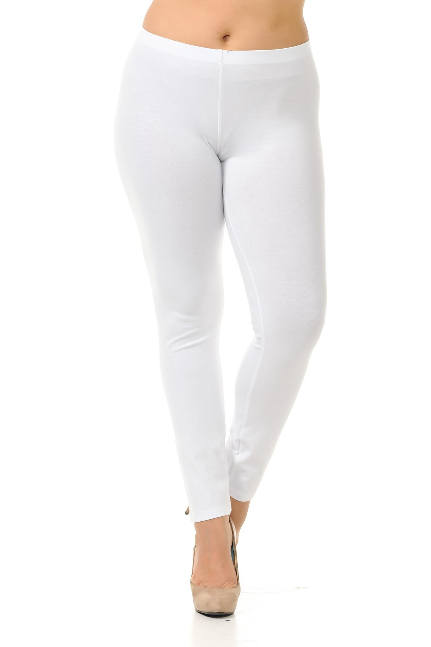 Front view image of white full length plus size USA cotton leggings.