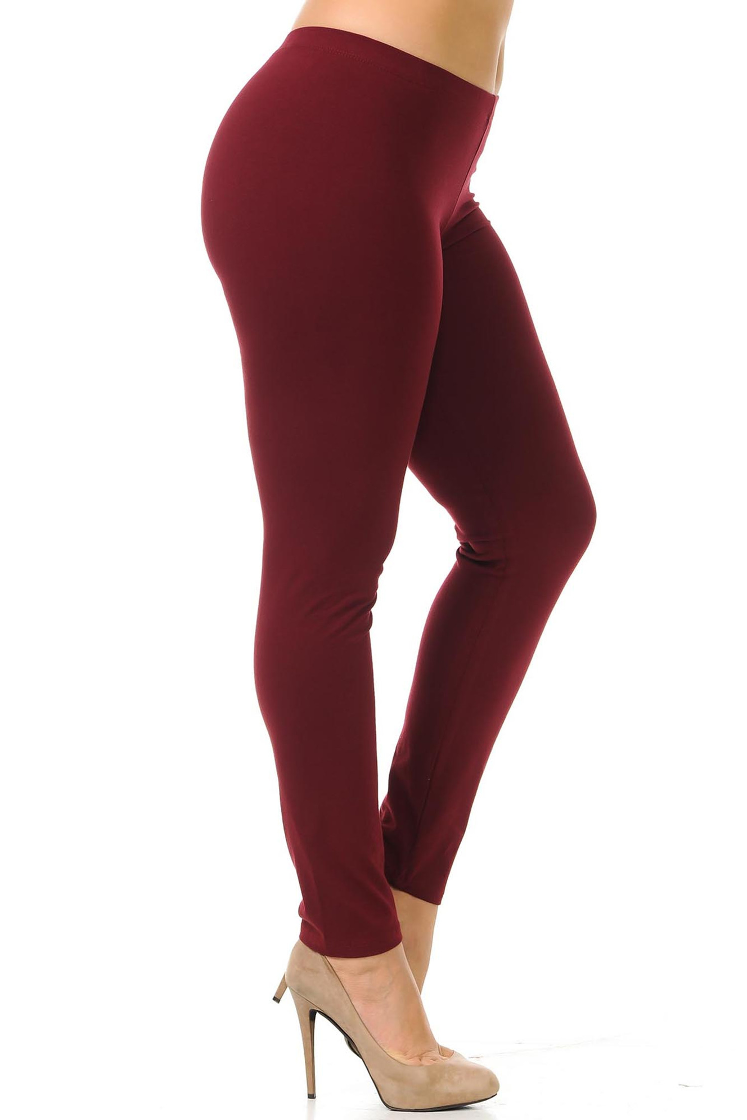 Right side view of burgundy plus size USA Cotton Full Length Leggings.