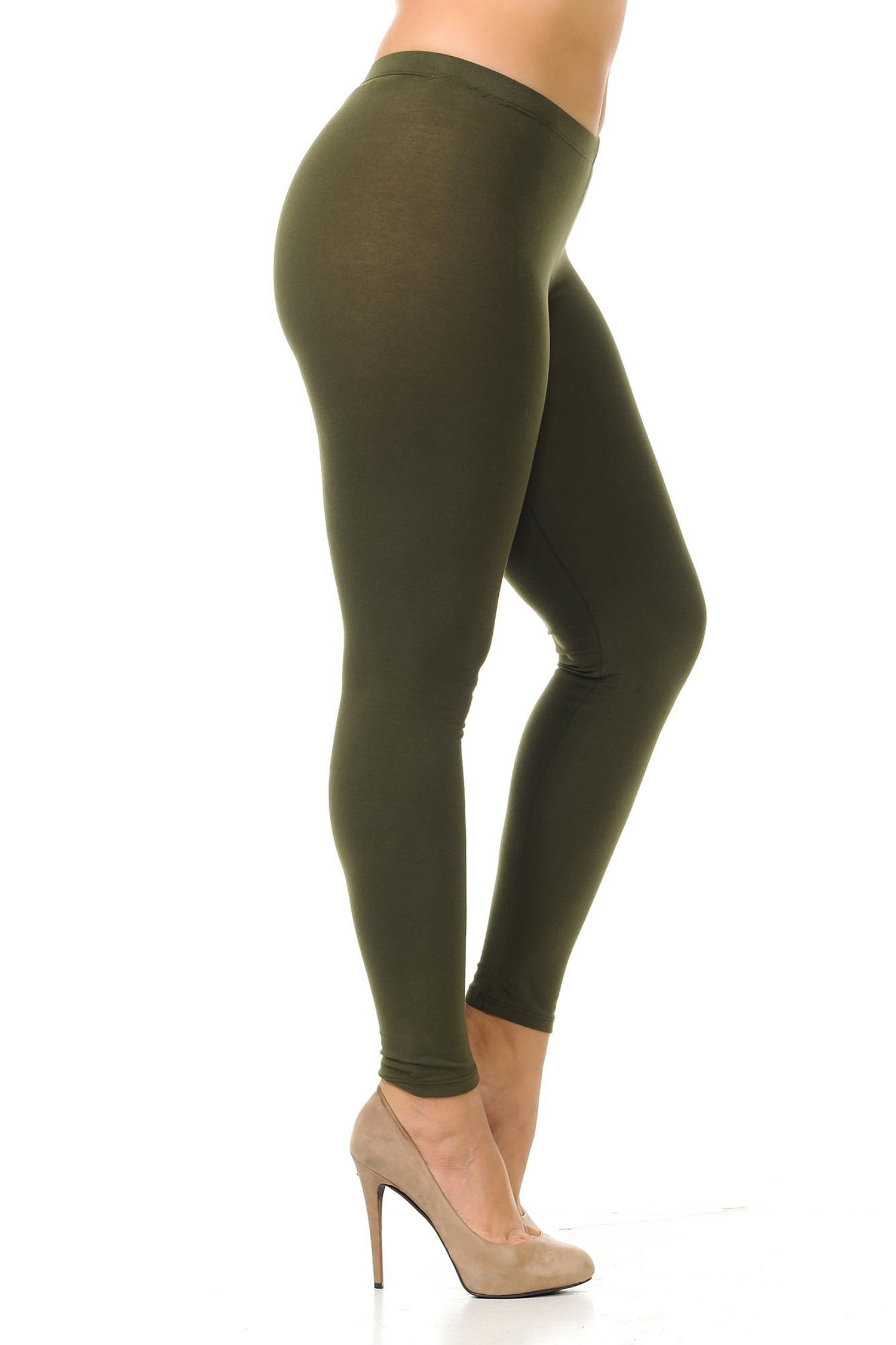 Right side view of olive plus size USA Cotton Full Length Leggings.