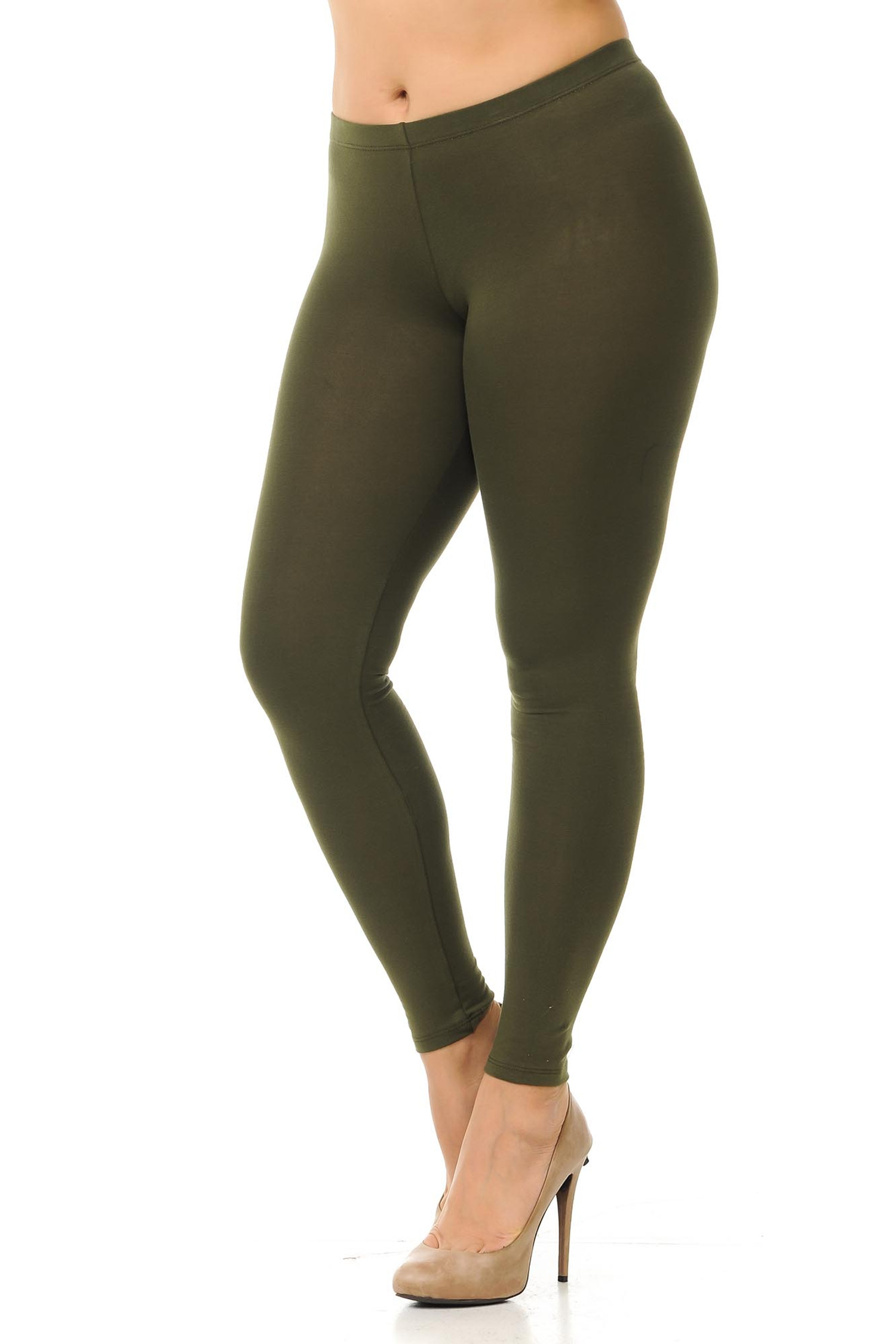 45 degree angled view of olive plus size qUSA Cotton Full Length Leggings
