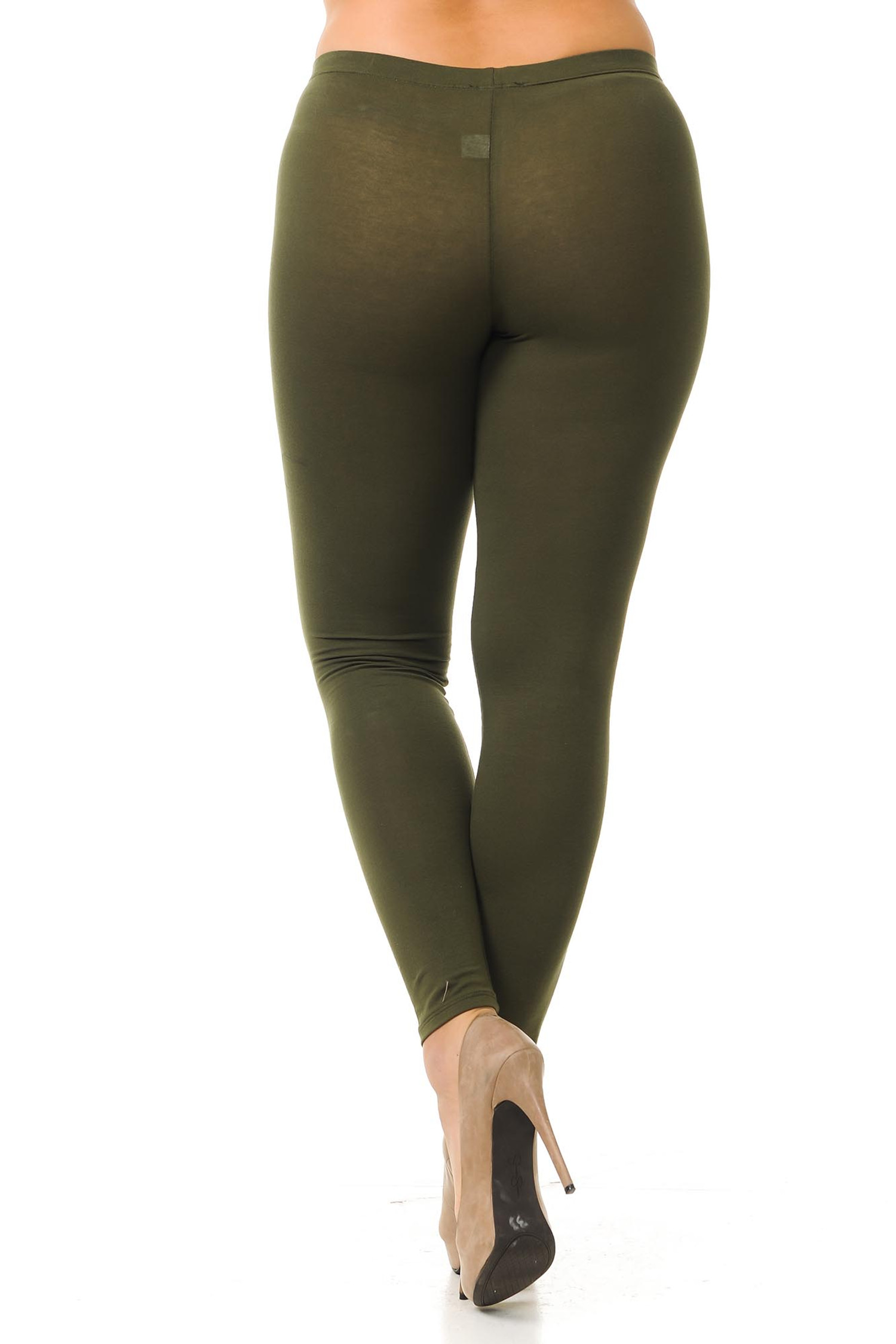 Rear view image showing the flattering body-hugging fit of our olive made in the USA full length cotton plus size leggings.