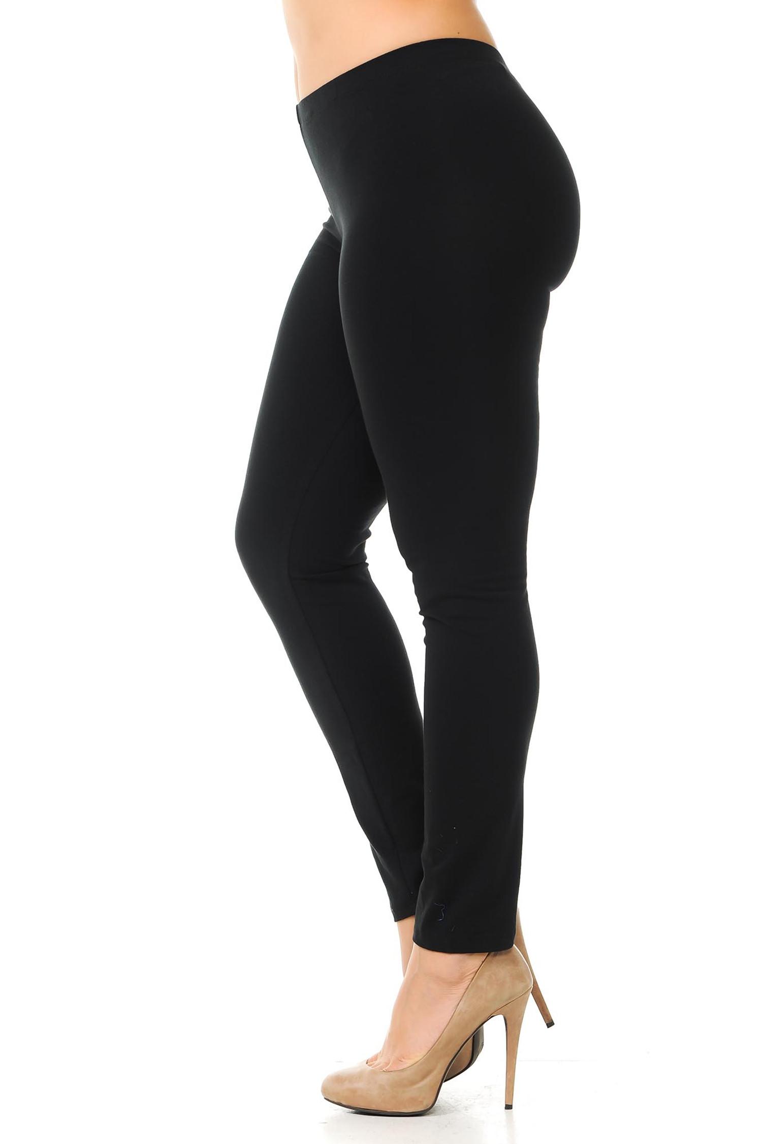 Left side view of  black plus size USA Cotton Full Length Leggings.