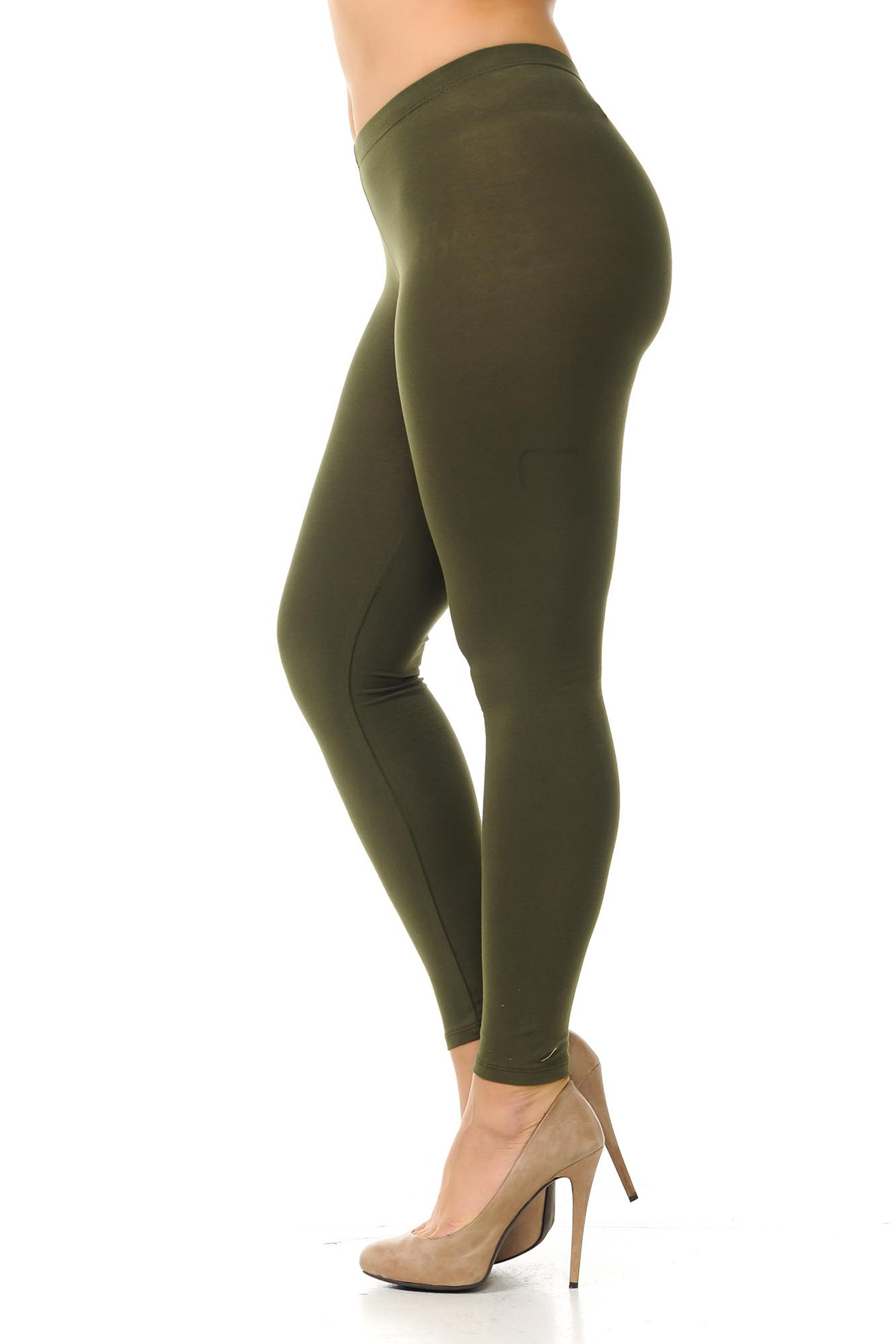 Left side view of  olive plus size USA Cotton Full Length Leggings.