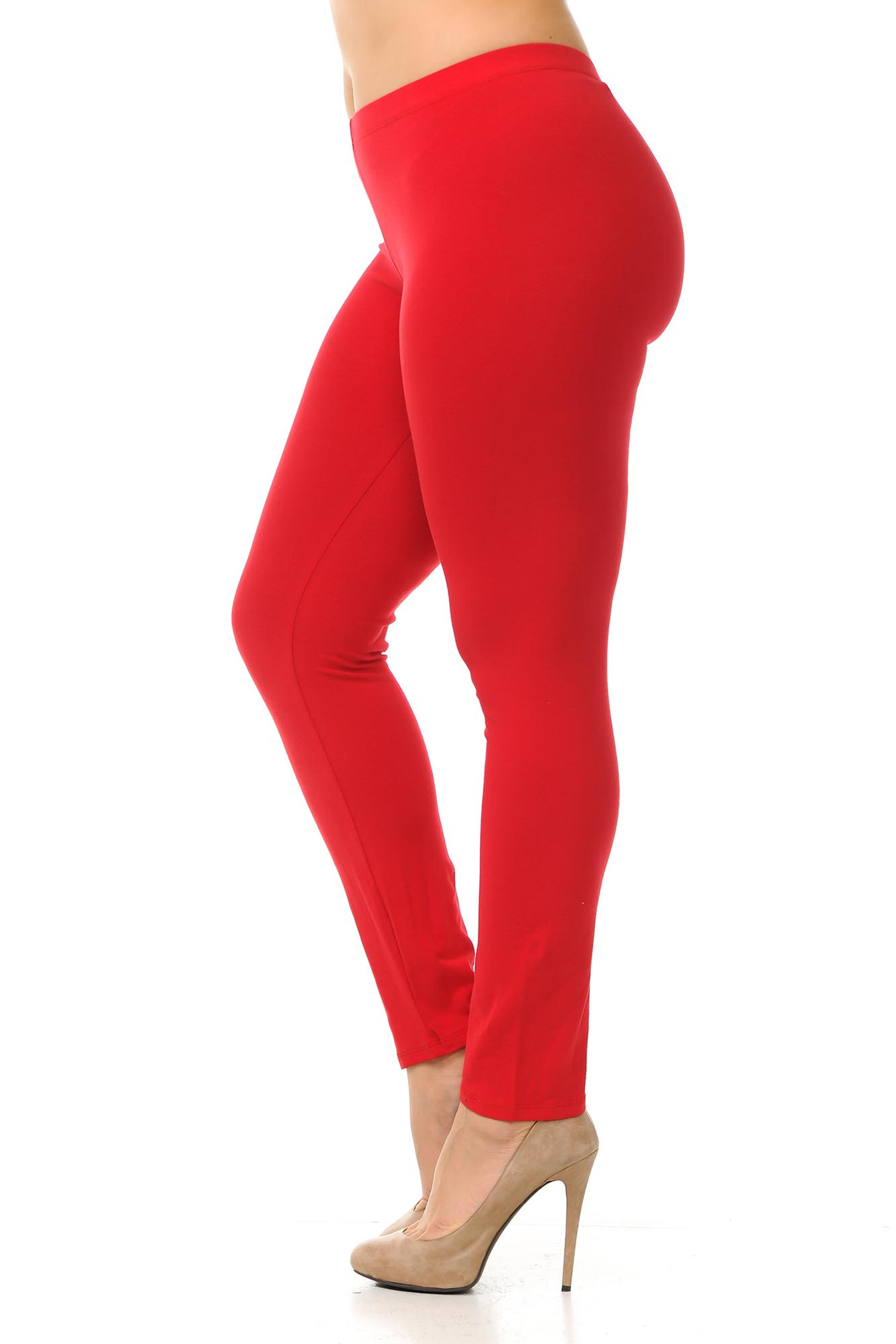 Left side view of  red plus size USA Cotton Full Length Leggings.