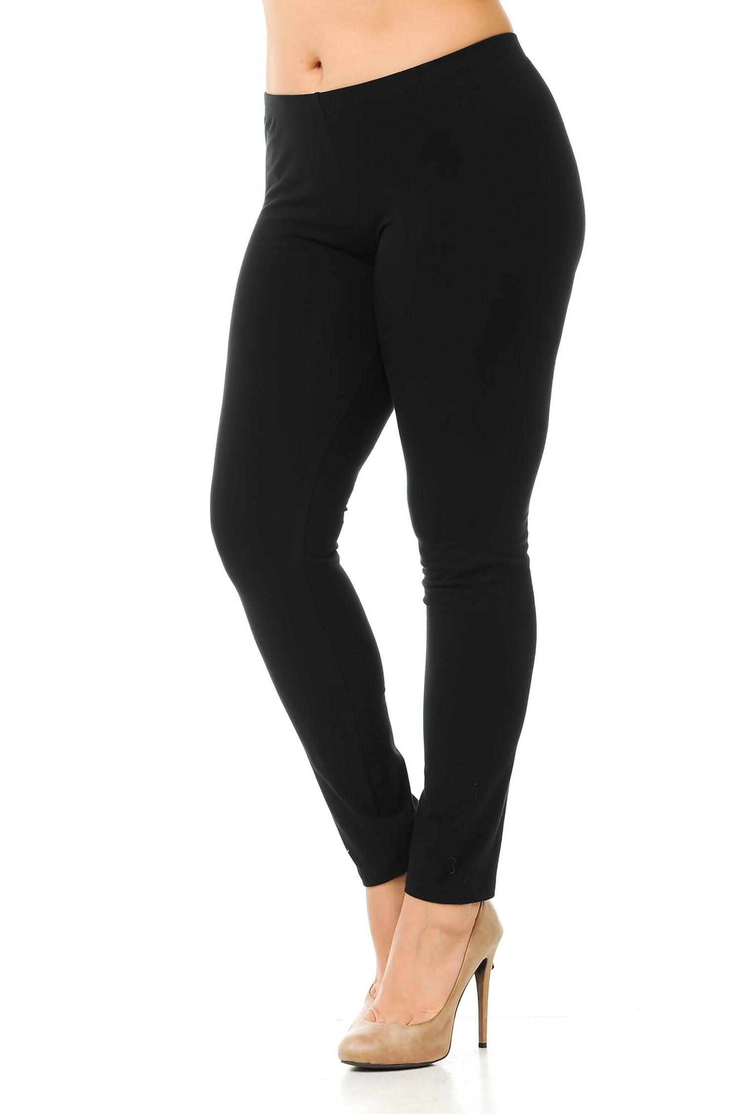 45 degree angled view of black plus size qUSA Cotton Full Length Leggings