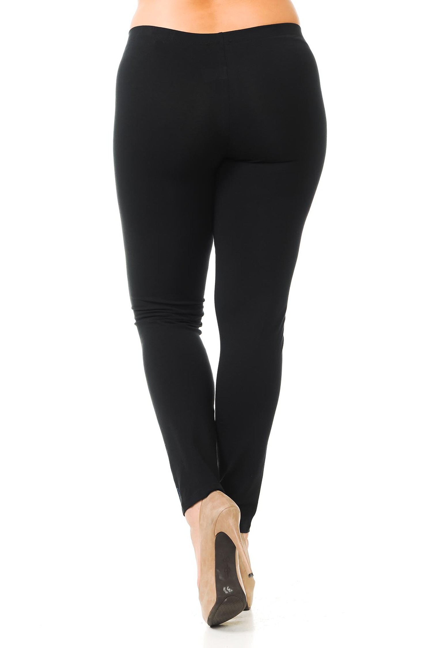 Rear view of black full length plus size made in the USA cotton leggings with a flattering body forming fit.
