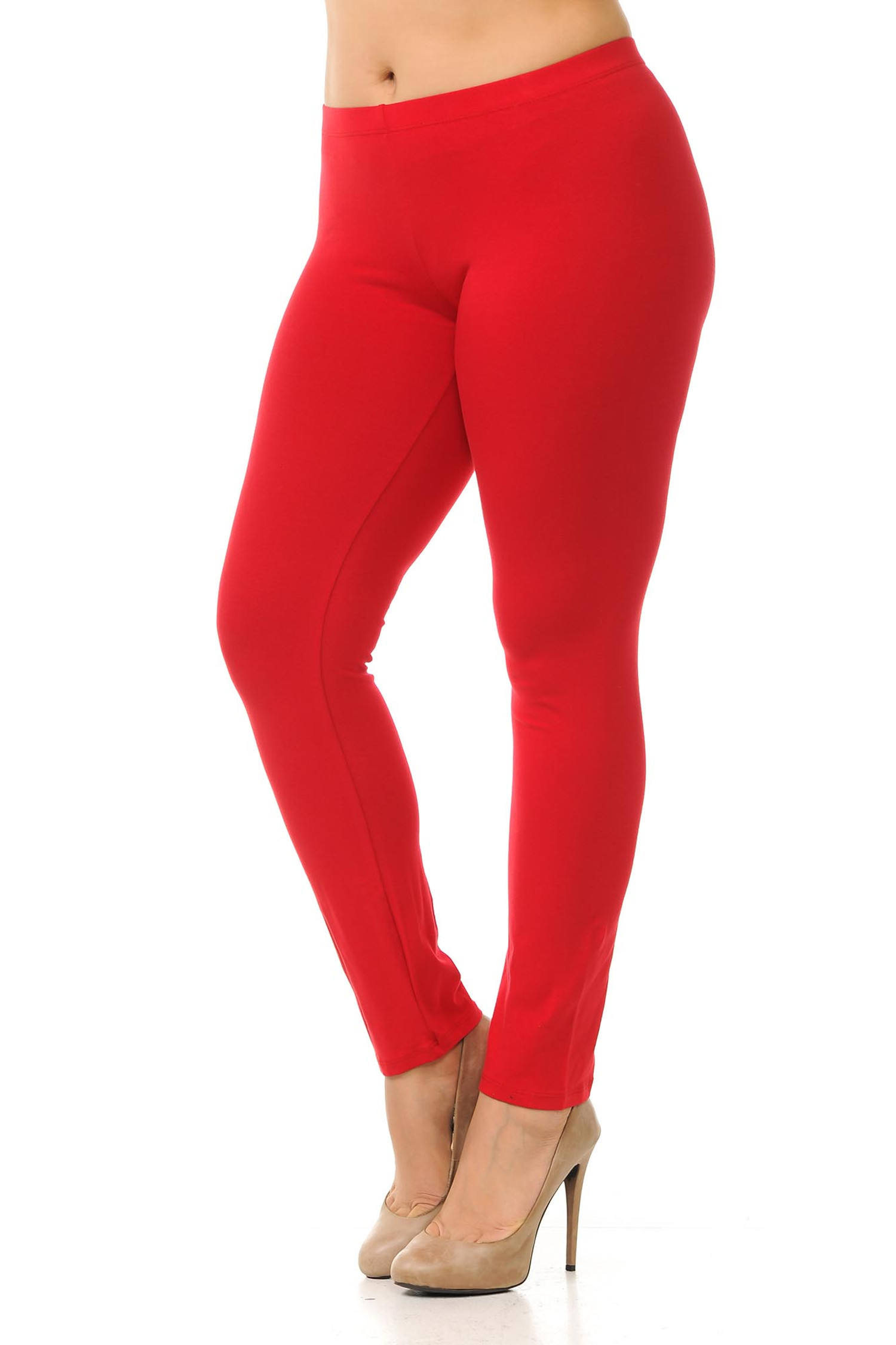 45 degree angled view of red plus size qUSA Cotton Full Length Leggings