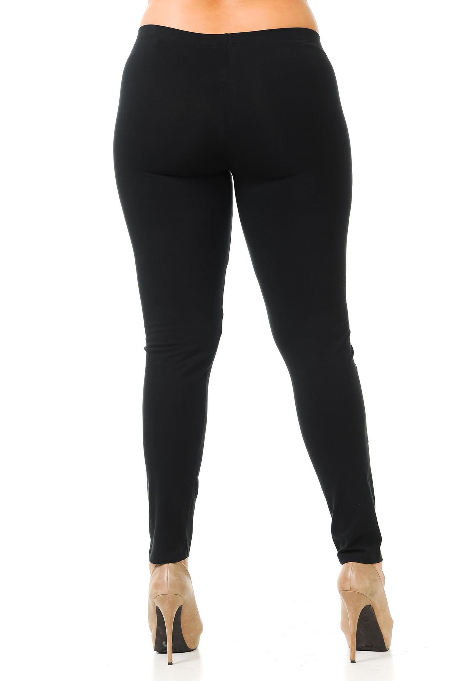 Rear view image of Black USA Cotton Full Length Leggings - Plus Size
