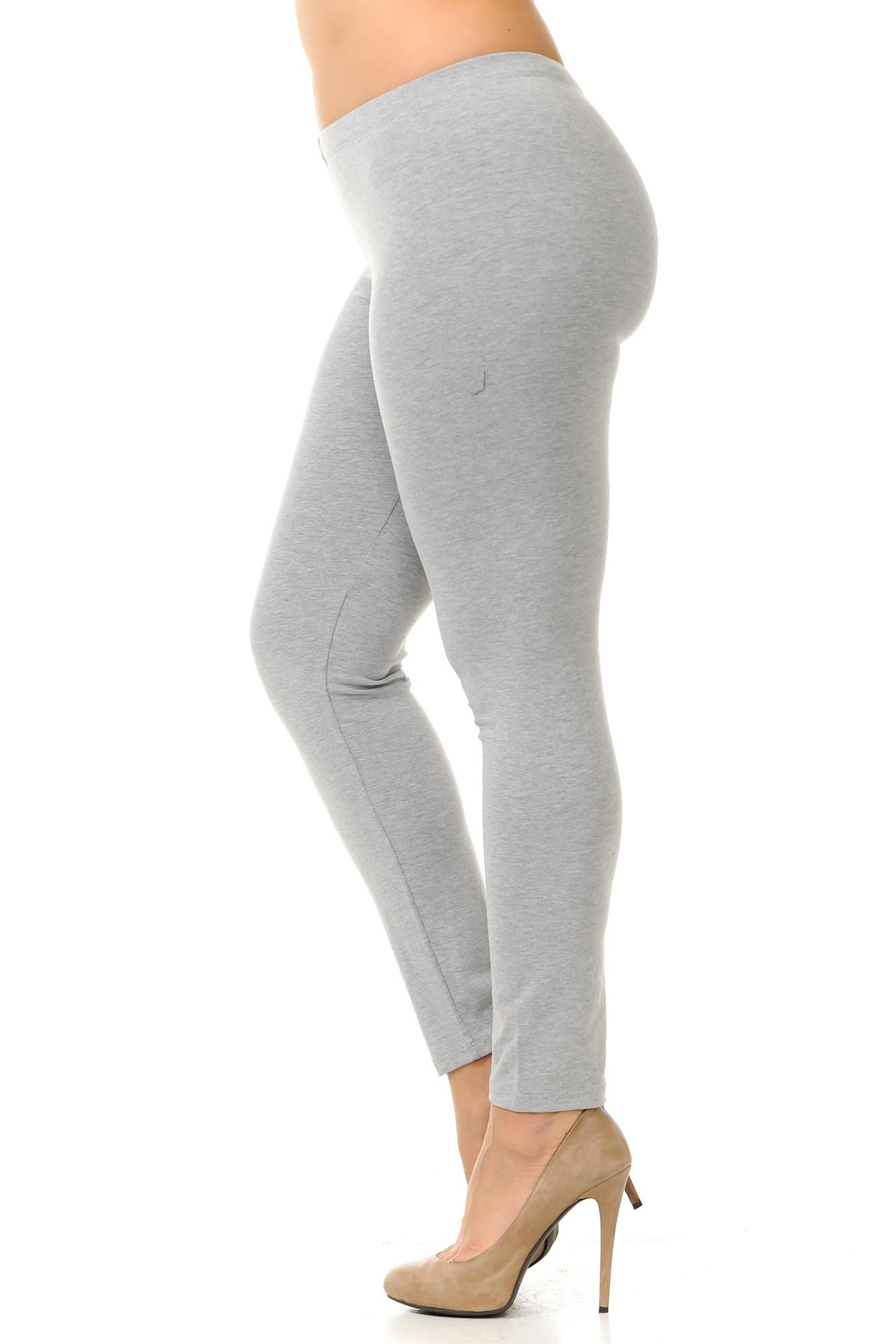 Left side view of heather gray plus size USA Cotton Full Length Leggings.