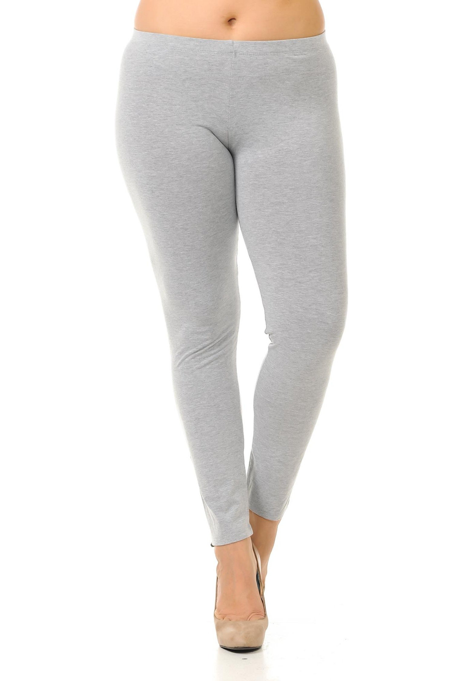 Front crossed foot image of plus size heather gray full length cotton leggings made in the USA