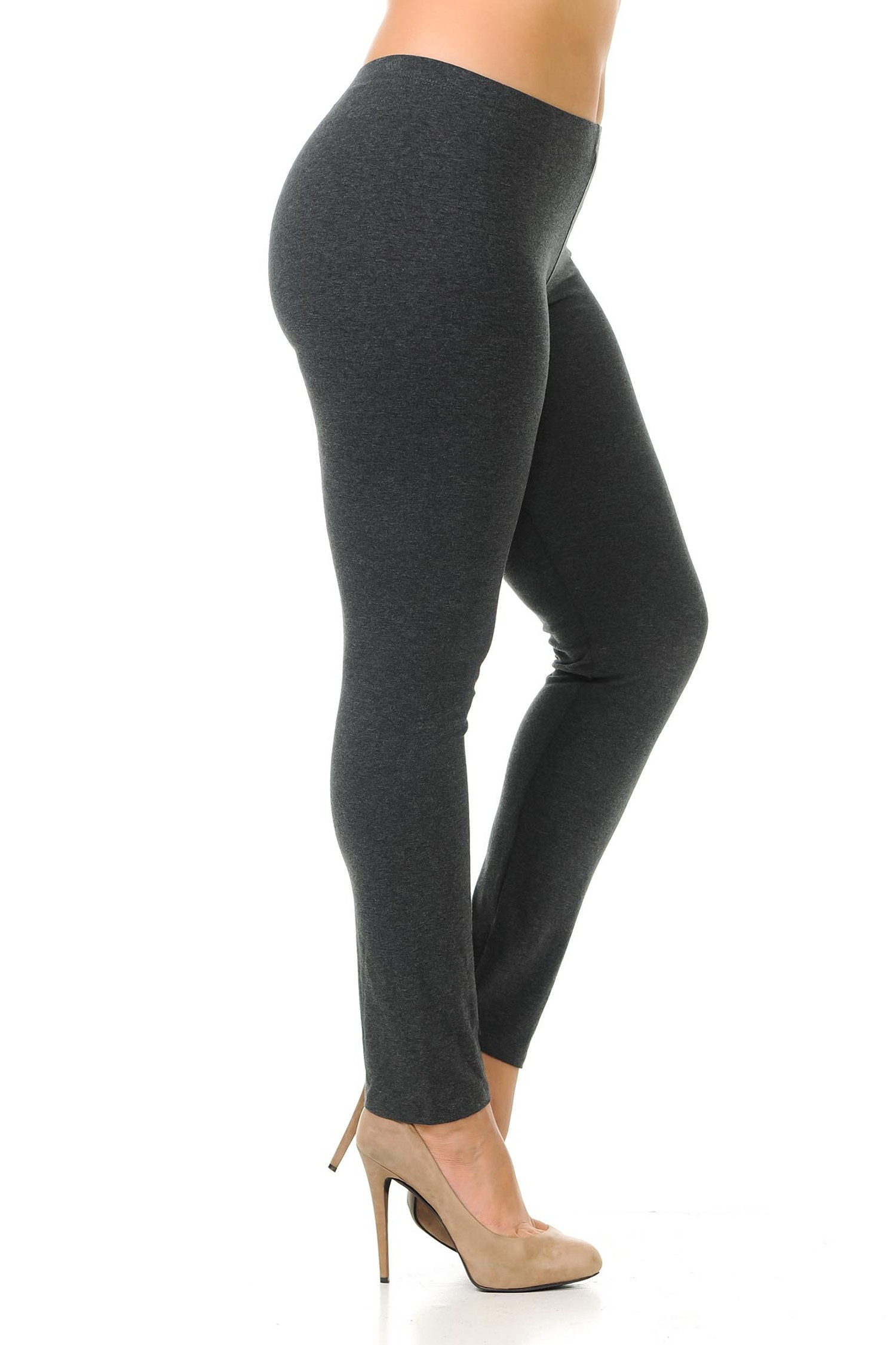 Right side view of charcoal plus size USA Cotton Full Length Leggings.