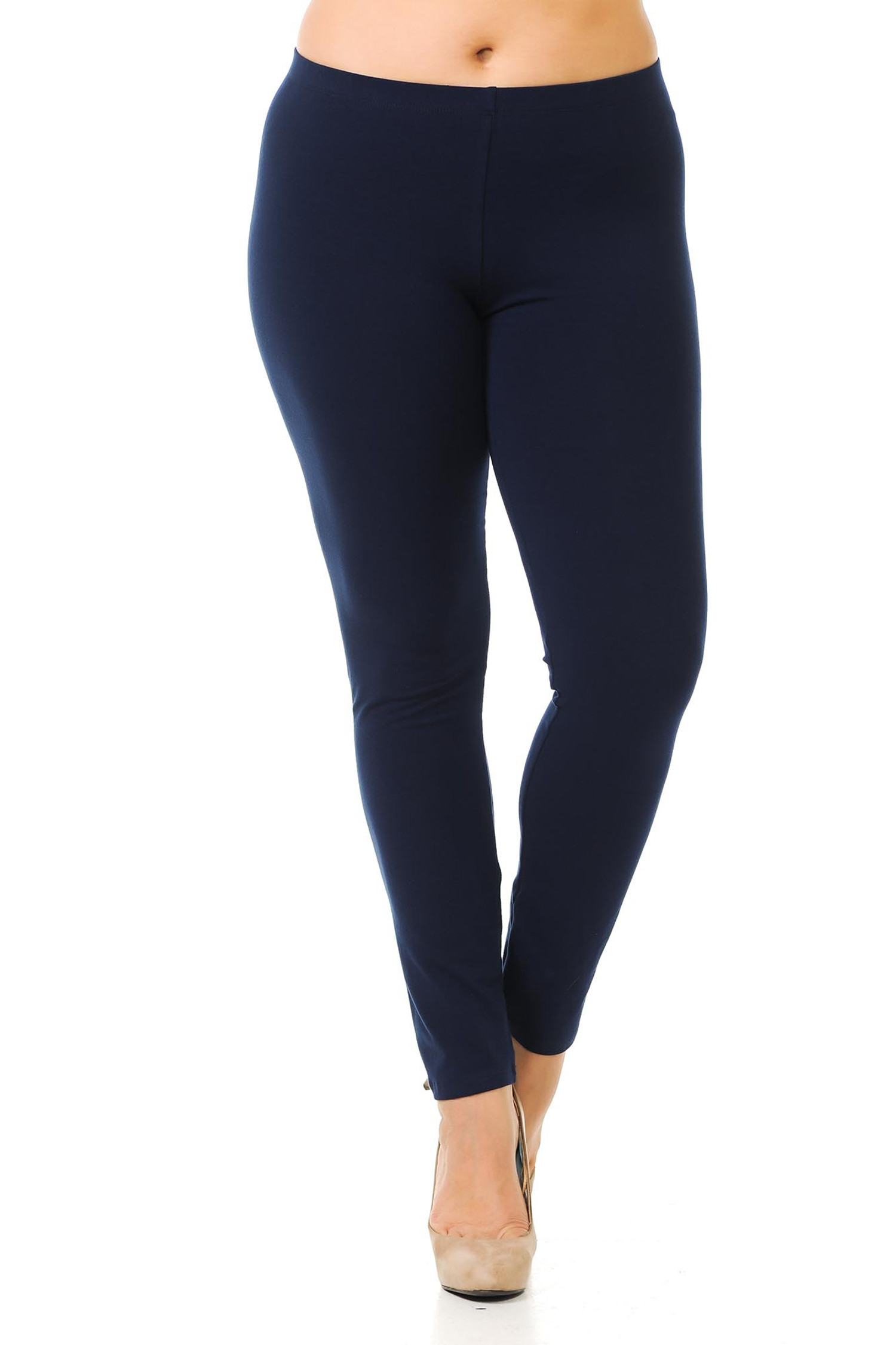 Front view of full length navy made in the USA cotton leggings.