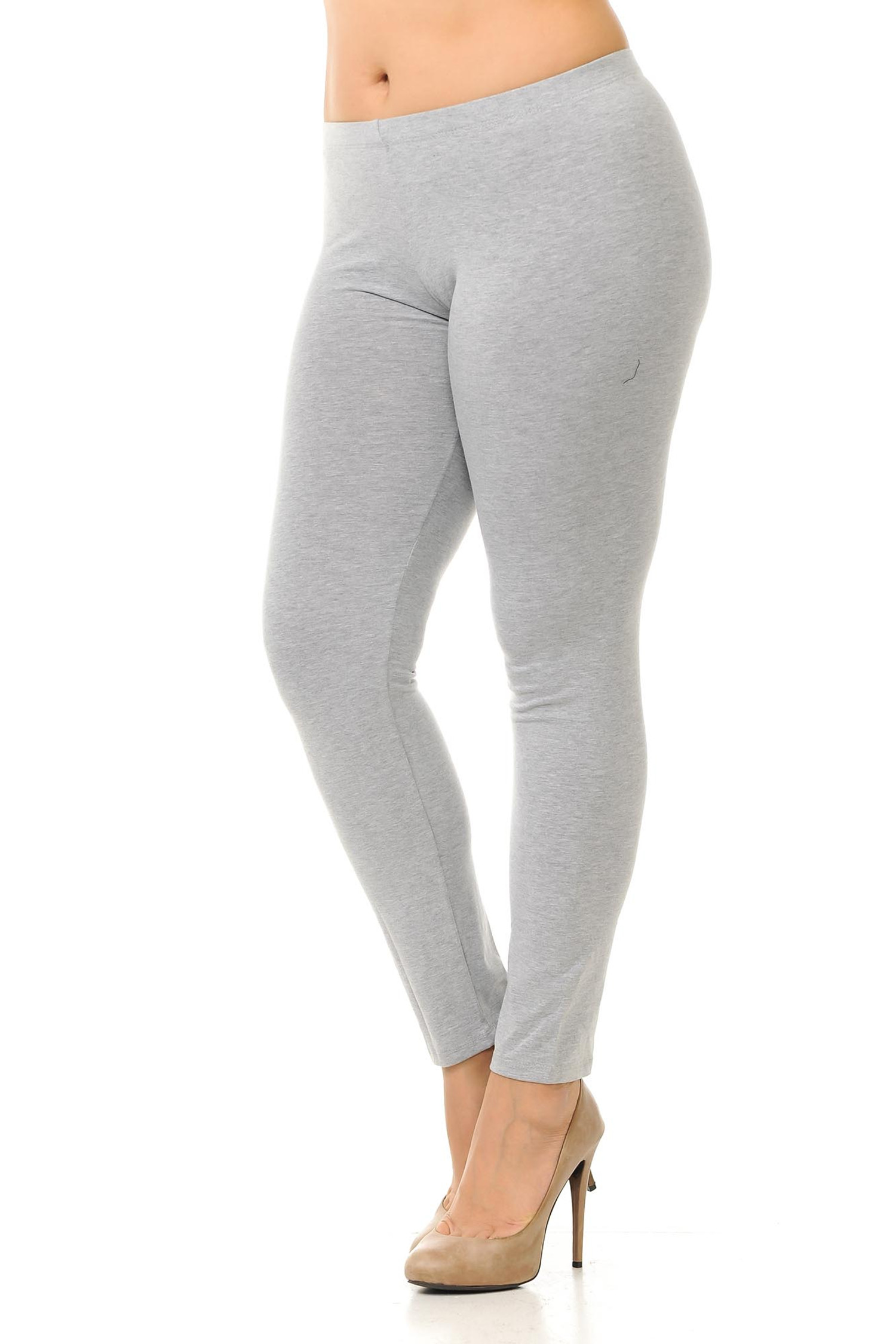 45 degree angled view of heather gray plus size qUSA Cotton Full Length Leggings