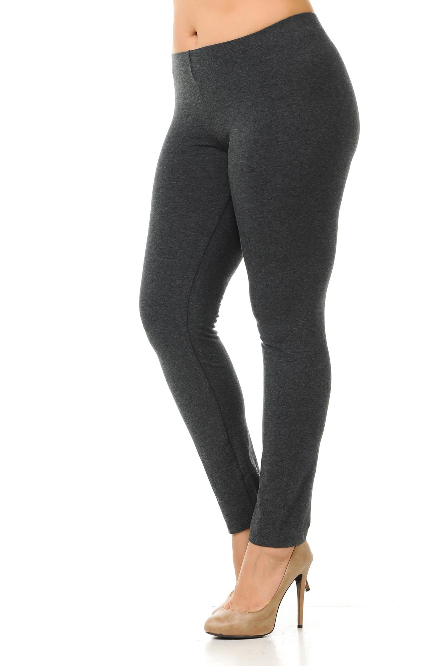 45 degree angled view of charcoal plus size qUSA Cotton Full Length Leggings