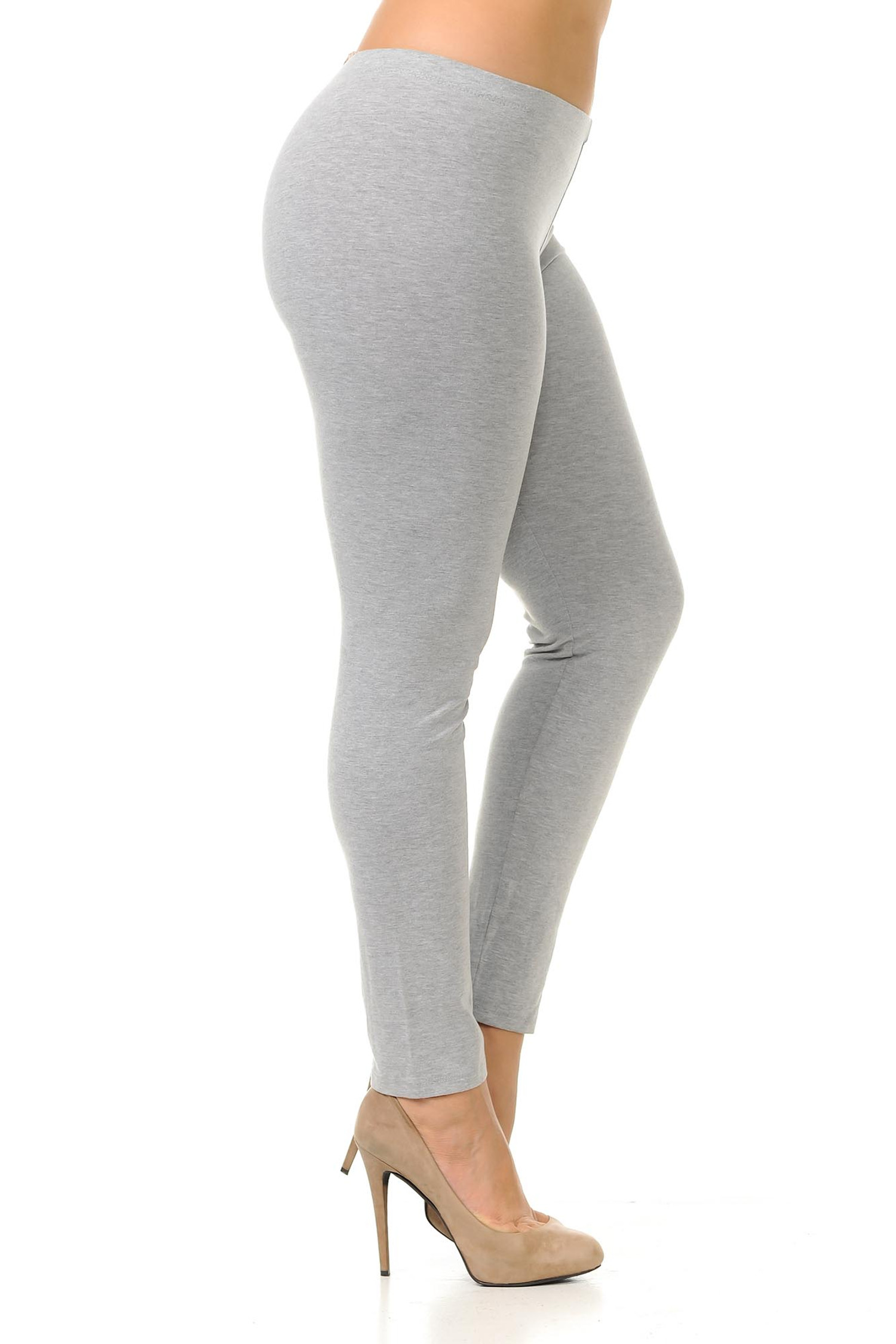 Right side view of heather gray plus size USA Cotton Full Length Leggings.