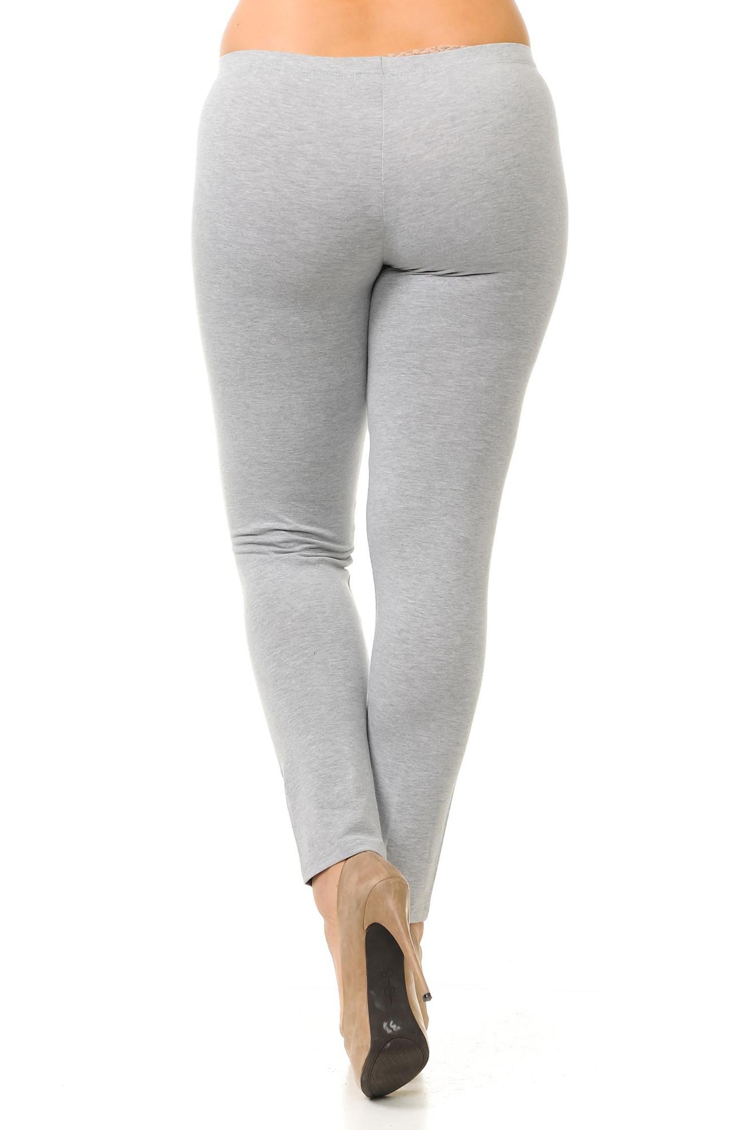 Rear image of heather gray full length USA cotton plus size leggings.