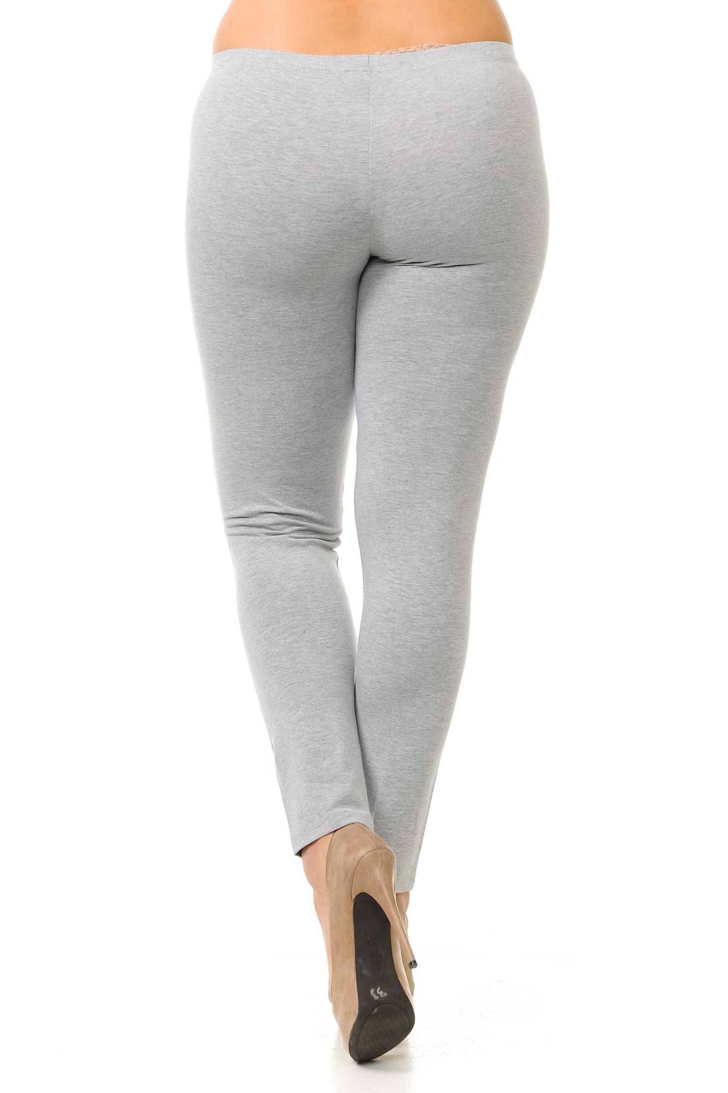 Rear image of heather gray full length USA cotton plus size leggings.