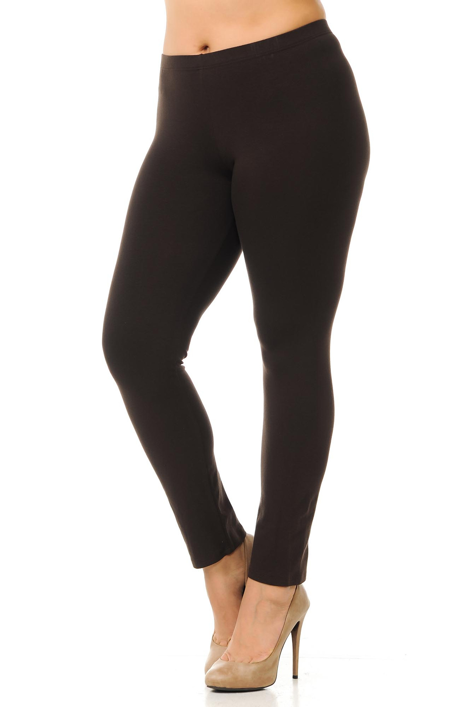 45 degree angled view of brown plus size qUSA Cotton Full Length Leggings