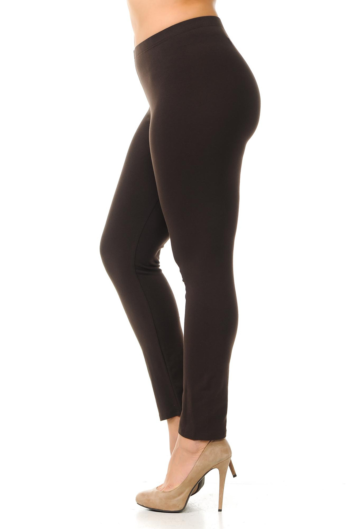 Left side view of  brown plus size USA Cotton Full Length Leggings.