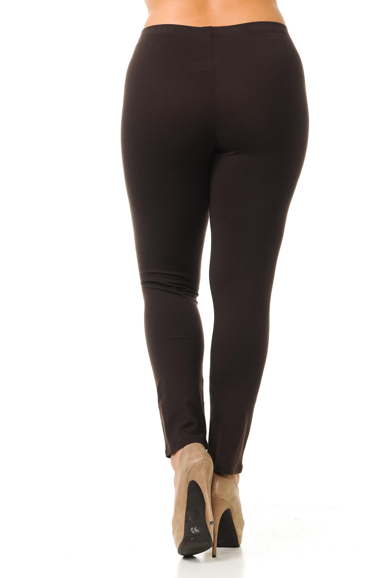 Rear view of full length brown made in the USA cotton plus size leggings.