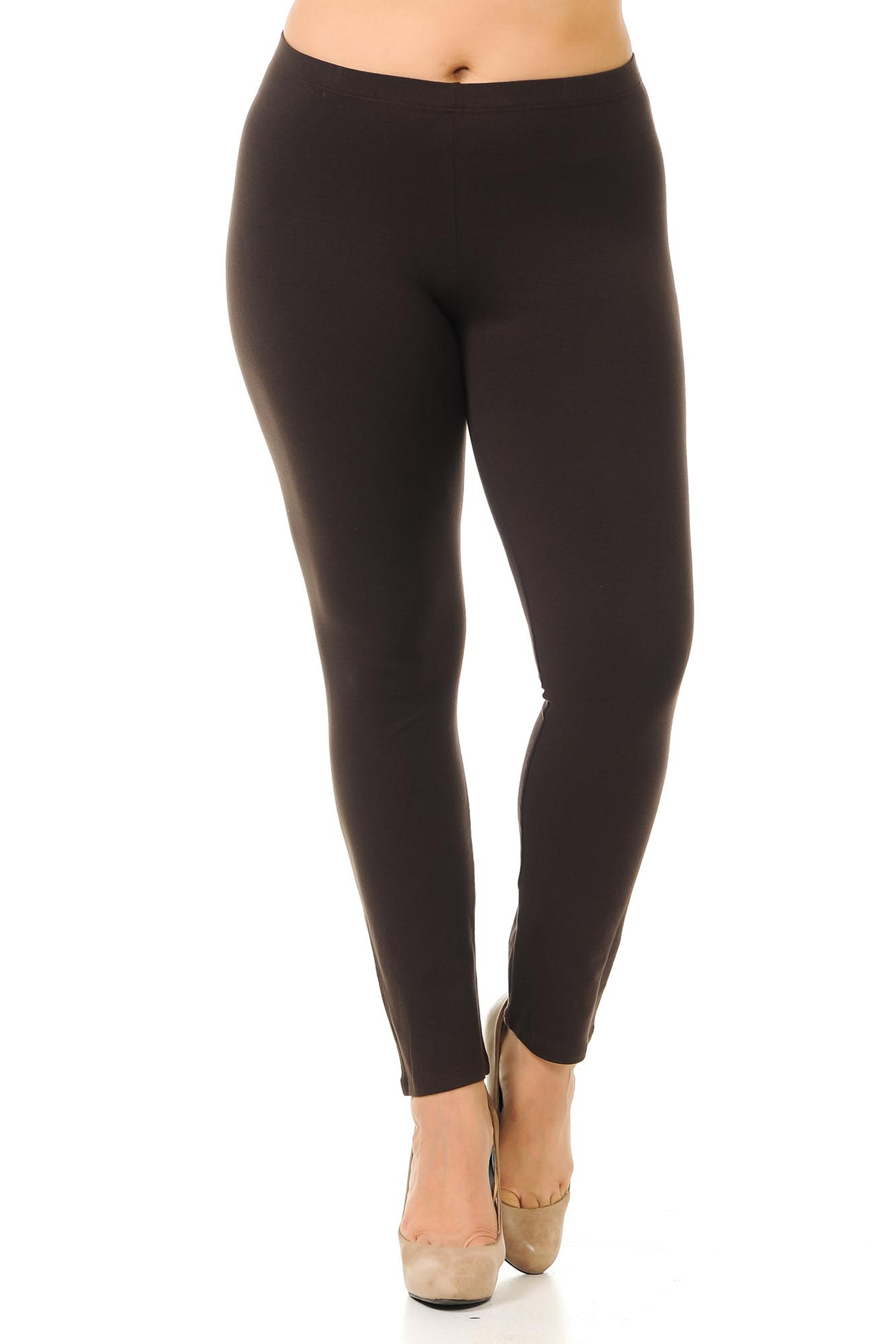 Front view image of plus size brown full length cotton leggings - made in the USA.