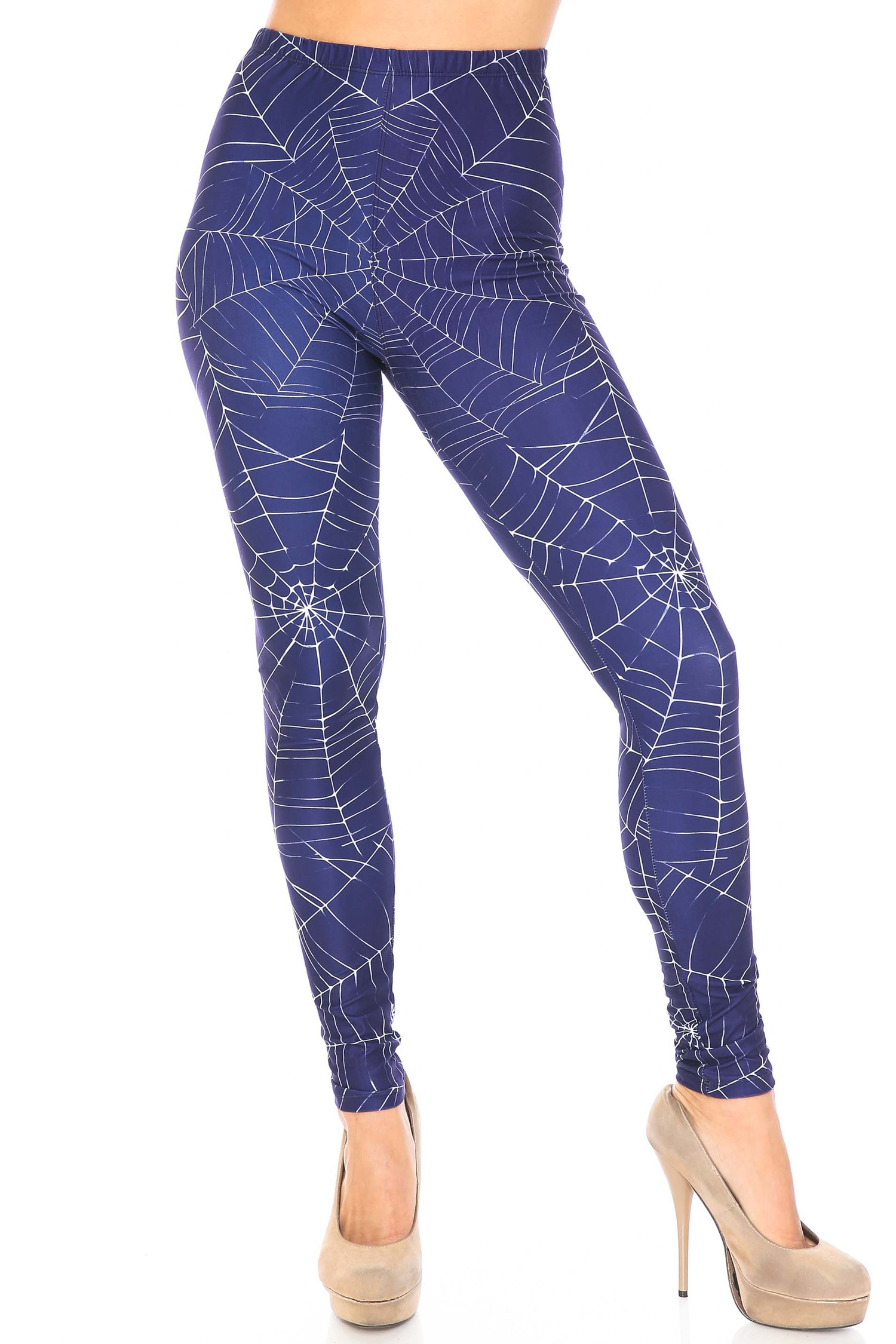 Front Creamy Soft Spiderwebs Halloween Extra Plus Size Leggings - 3X-5X - By USA Fashion™