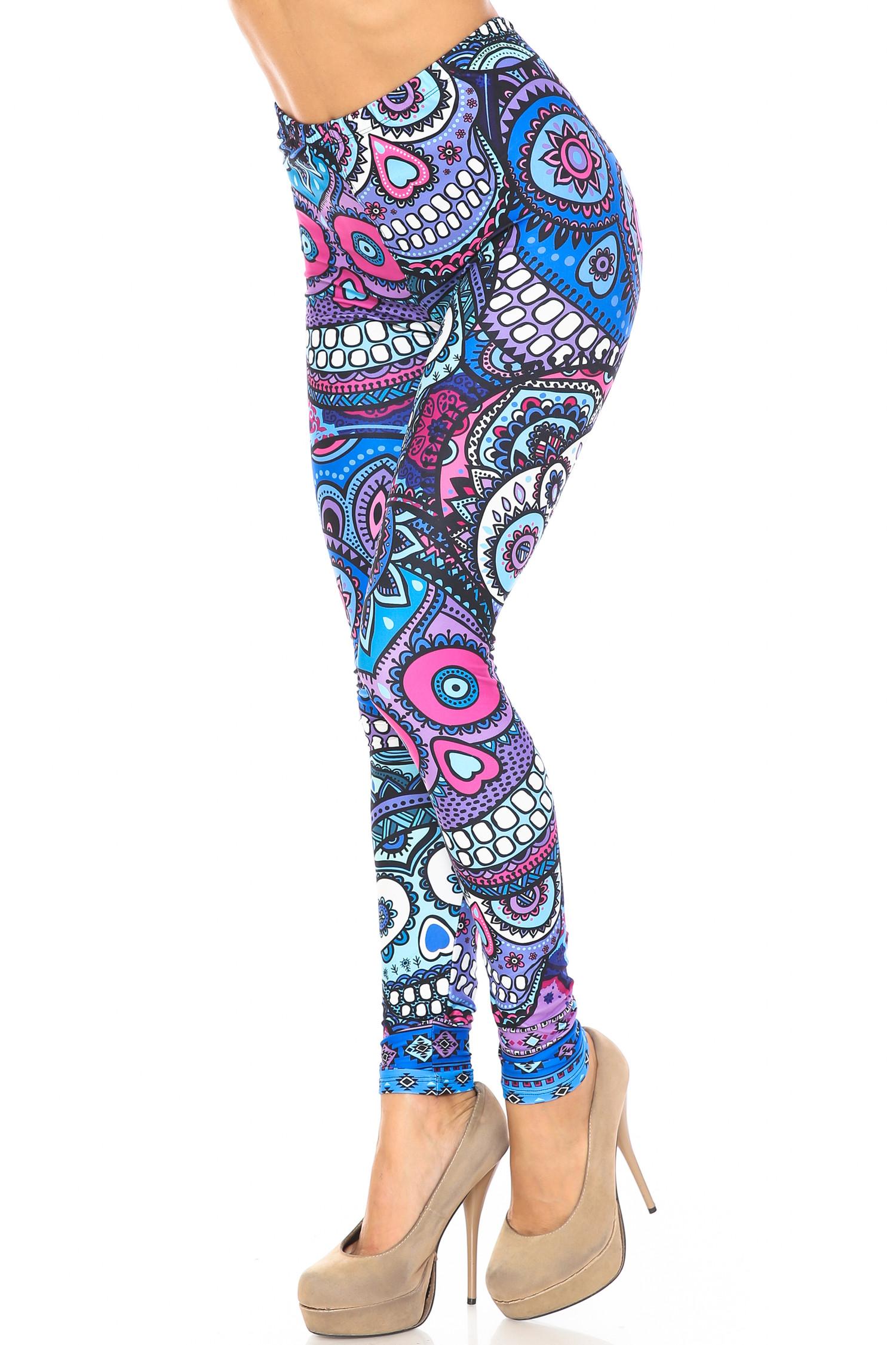Creamy Soft Jumbo Purple Sugar Skulls Leggings - By USA Fashion™